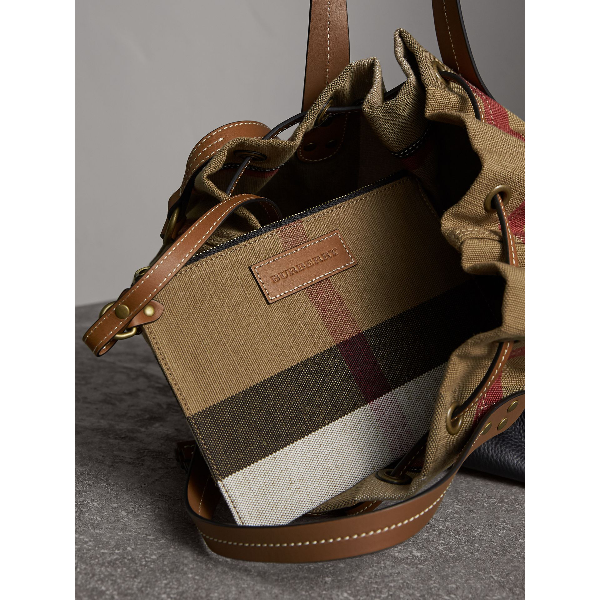 Medium Canvas Check Bucket Bag in Tan - Women | Burberry - gallery image 5