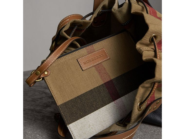 Medium Canvas Check Bucket Bag in Tan - Women | Burberry - cell image 4
