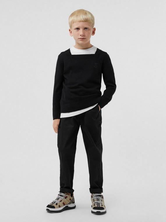 Jersey en cachemir con motivo de monograma (Negro)