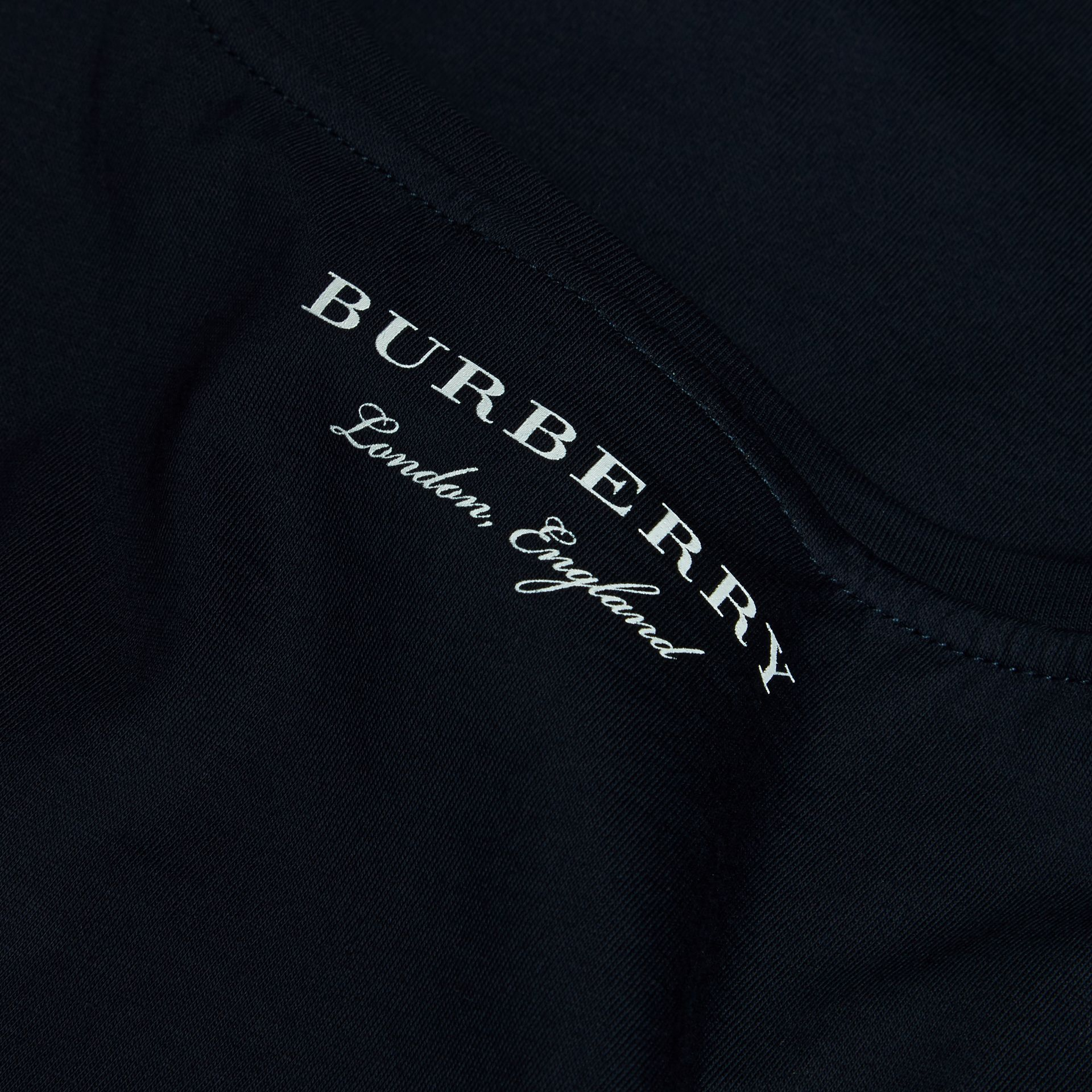 Crew Neck Cotton T-shirt in Navy - Men | Burberry - gallery image 2