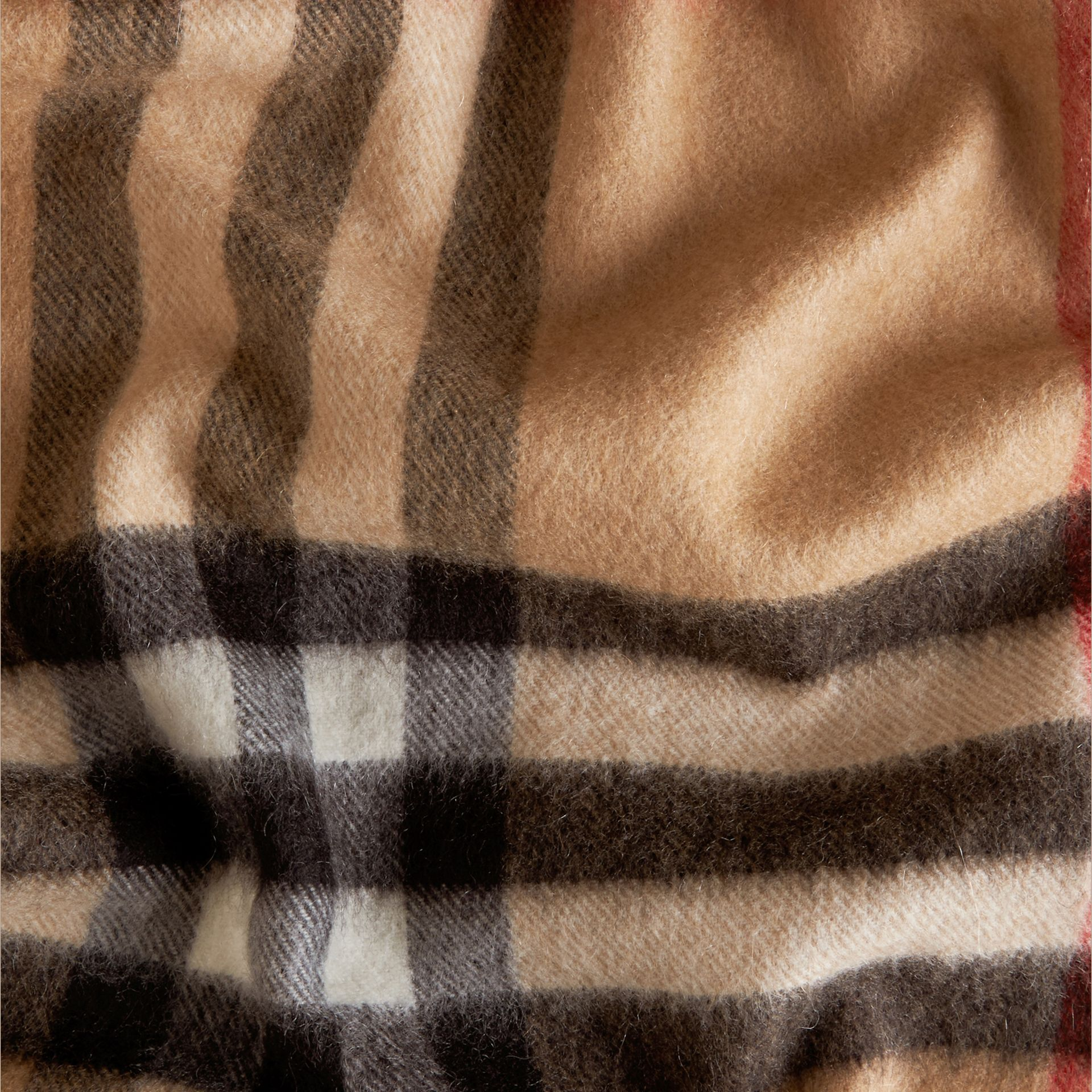 Camel check The Classic Cashmere Scarf in Check Camel - gallery image 5