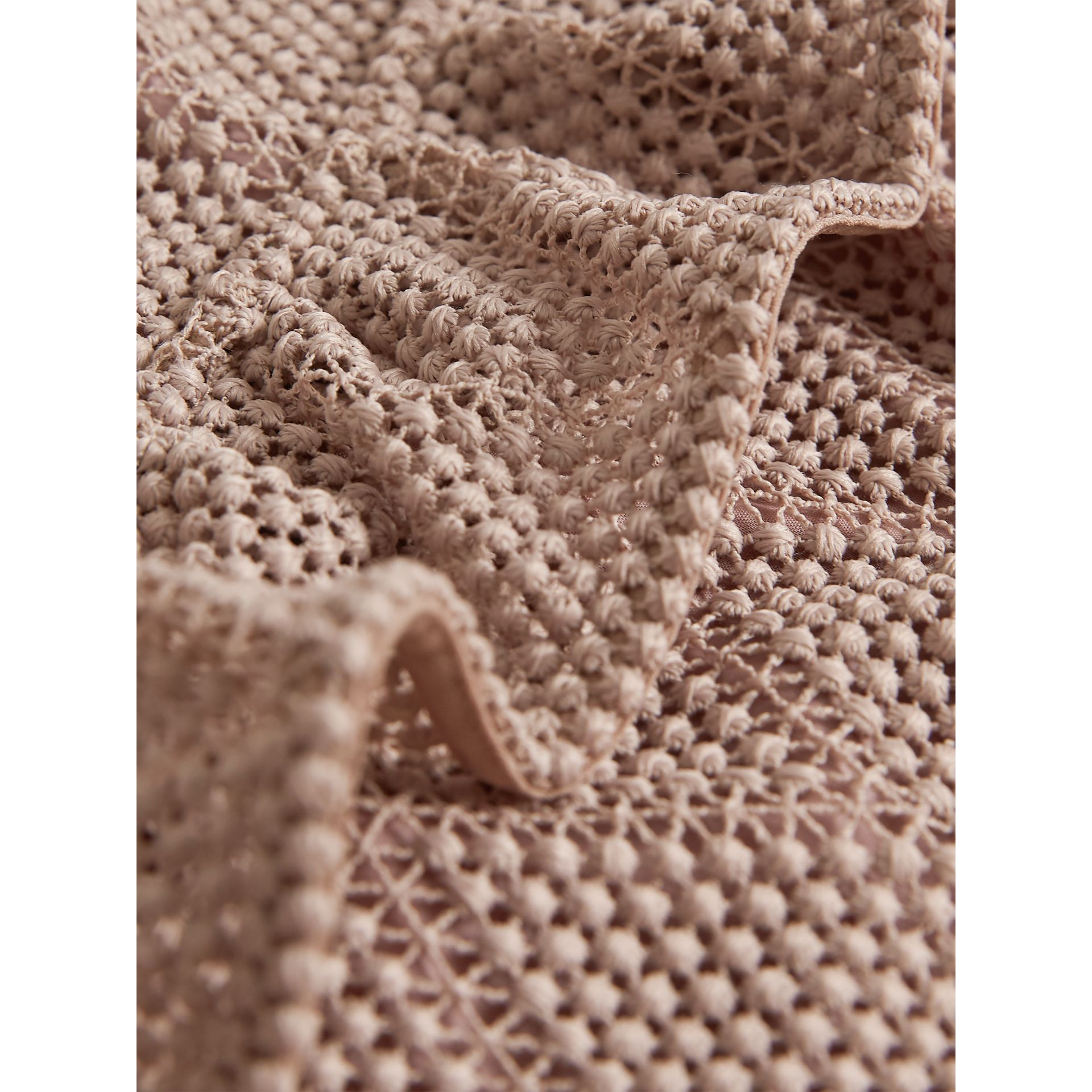 Ruffle Detail Diamond Macramé Lace A-line Dress in Pale Ash Rose - Girl | Burberry - gallery image 2