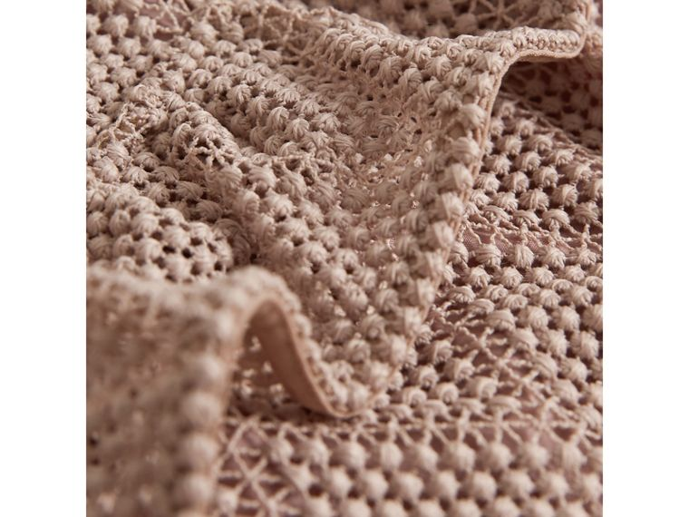 Ruffle Detail Diamond Macramé Lace A-line Dress in Pale Ash Rose - Girl | Burberry - cell image 1