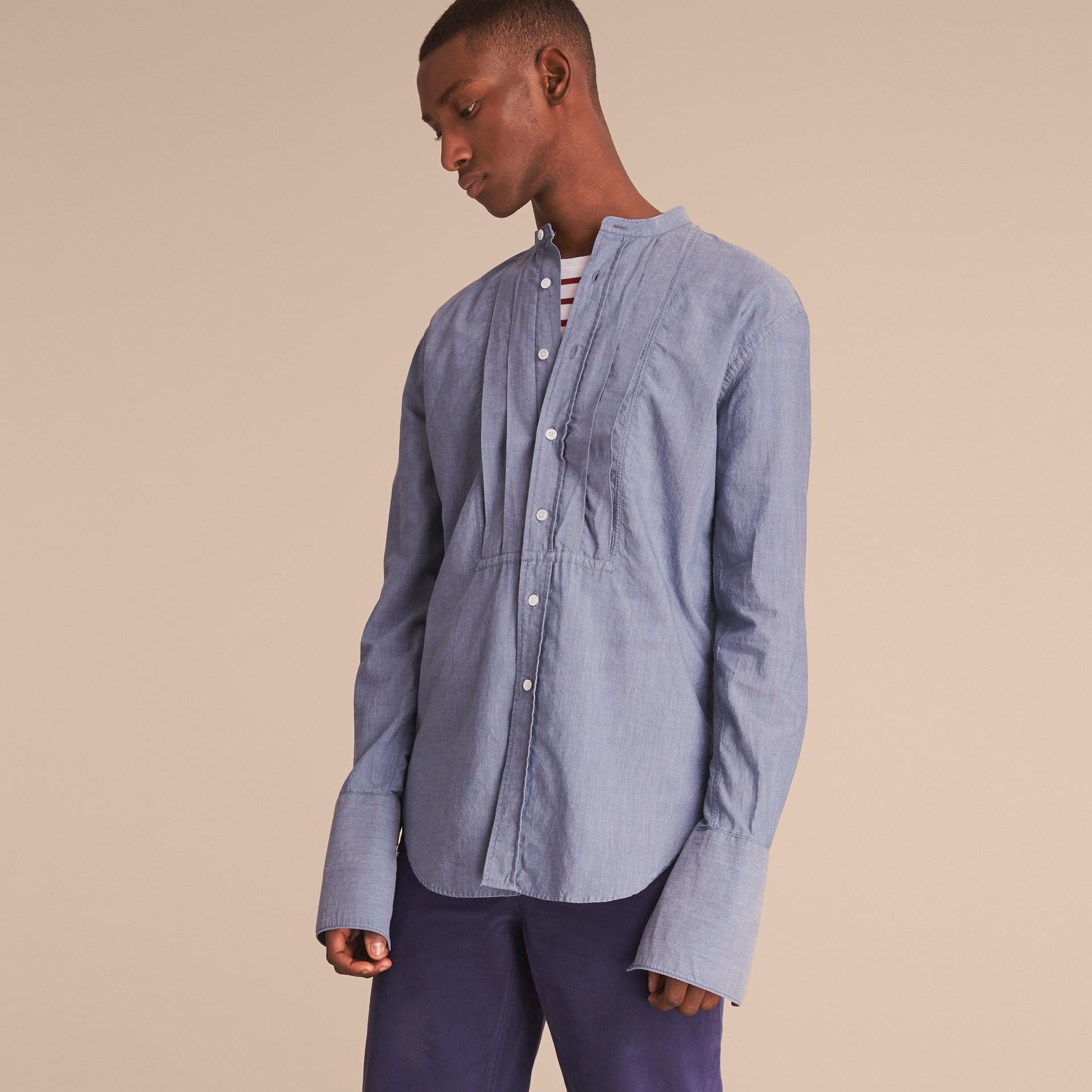 Grandad Collar Pleated Bib Cotton Shirt - gallery image 5