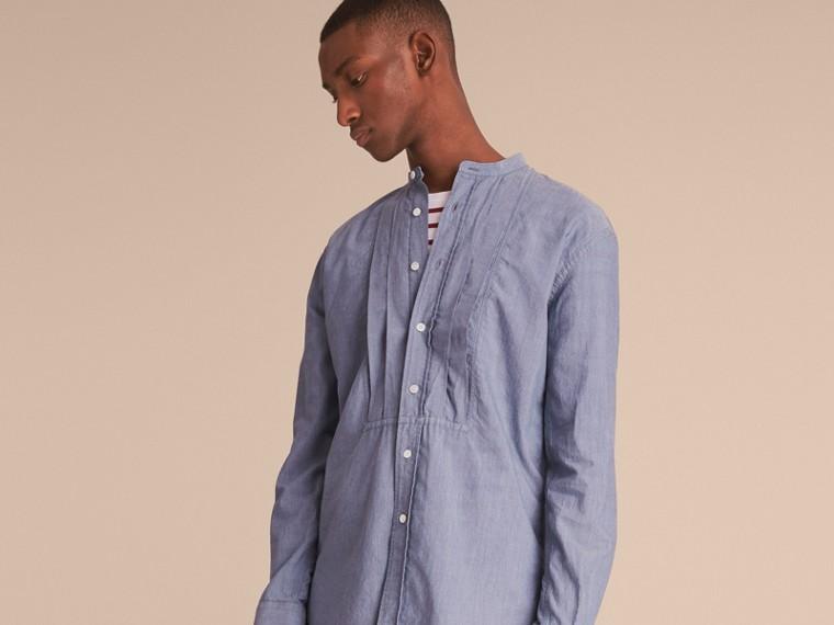 Grandad Collar Pleated Bib Cotton Shirt - cell image 4