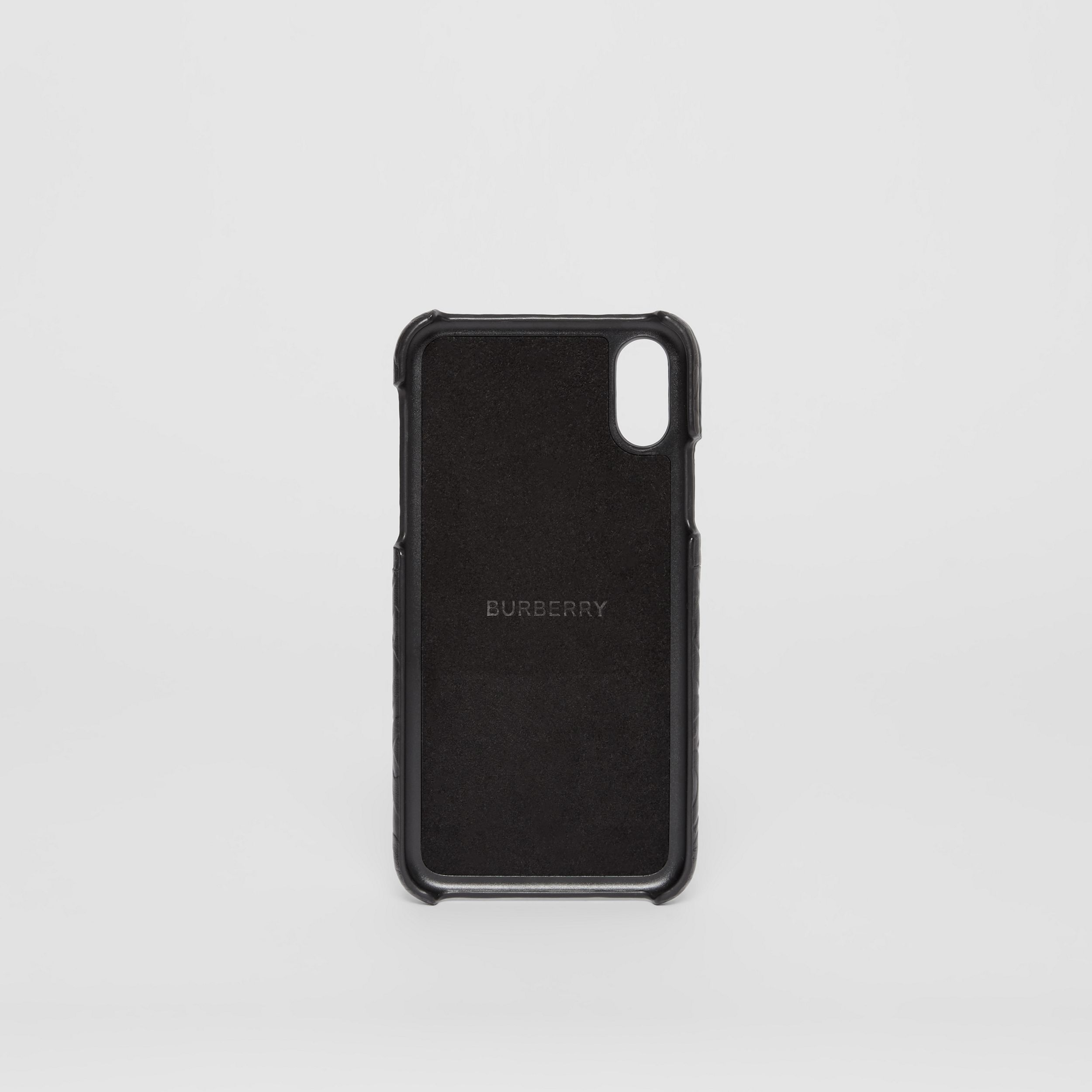 Monogram Leather iPhone X/XS Case in Black | Burberry United Kingdom - 4