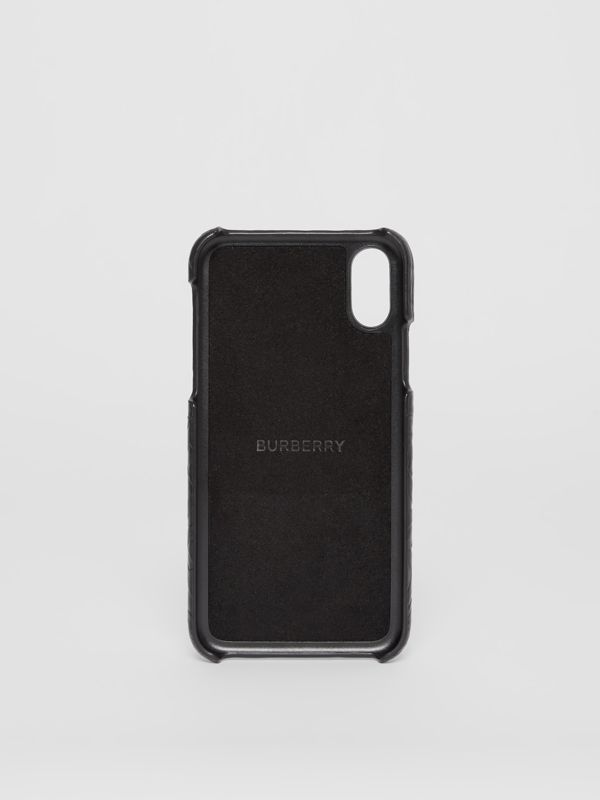 Monogram Leather iPhone X/XS Case in Black - Men | Burberry - cell image 3