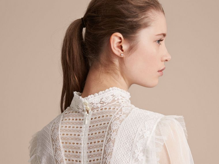 Ruffle Detail Lace Mesh Dress - cell image 4