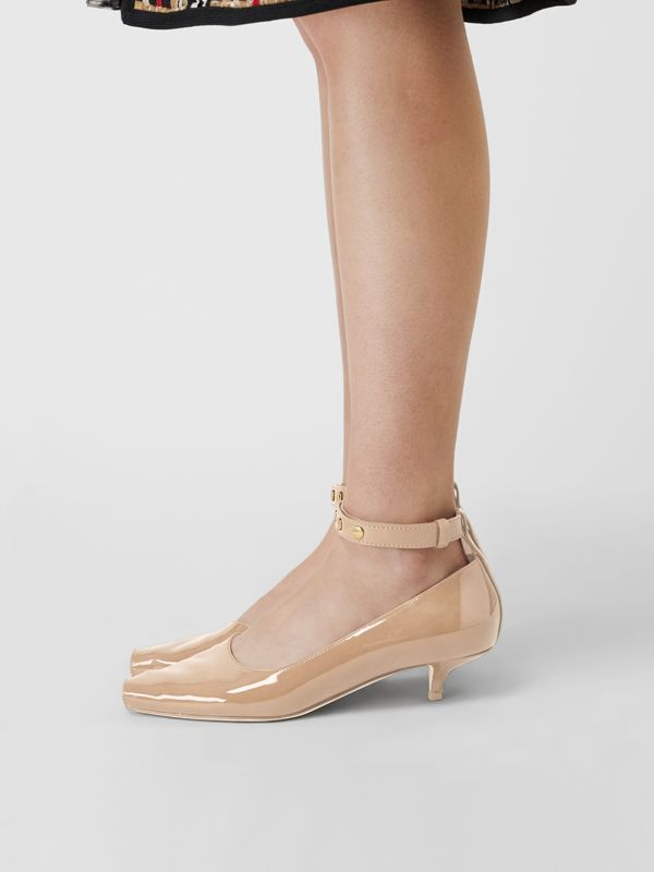 Patent Leather Peep-toe Kitten-heel Pumps in Dark Honey - Women | Burberry - cell image 2