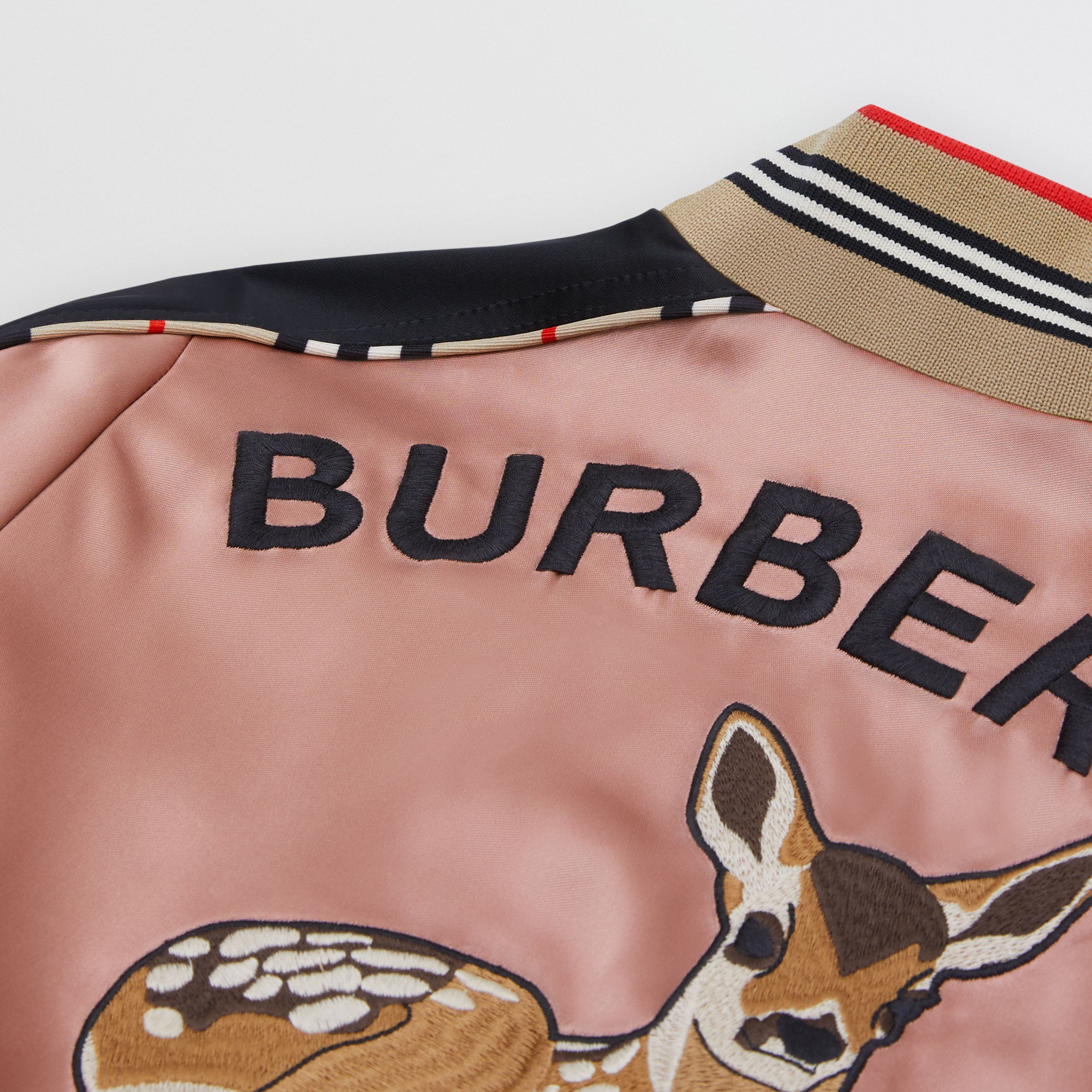 Deer Motif Sateen Bomber Jacket in Dusty Pink | Burberry - 2