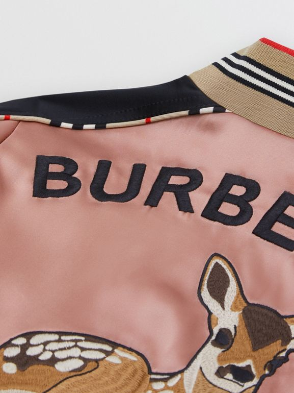 Deer Motif Sateen Bomber Jacket in Dusty Pink | Burberry United Kingdom - cell image 1