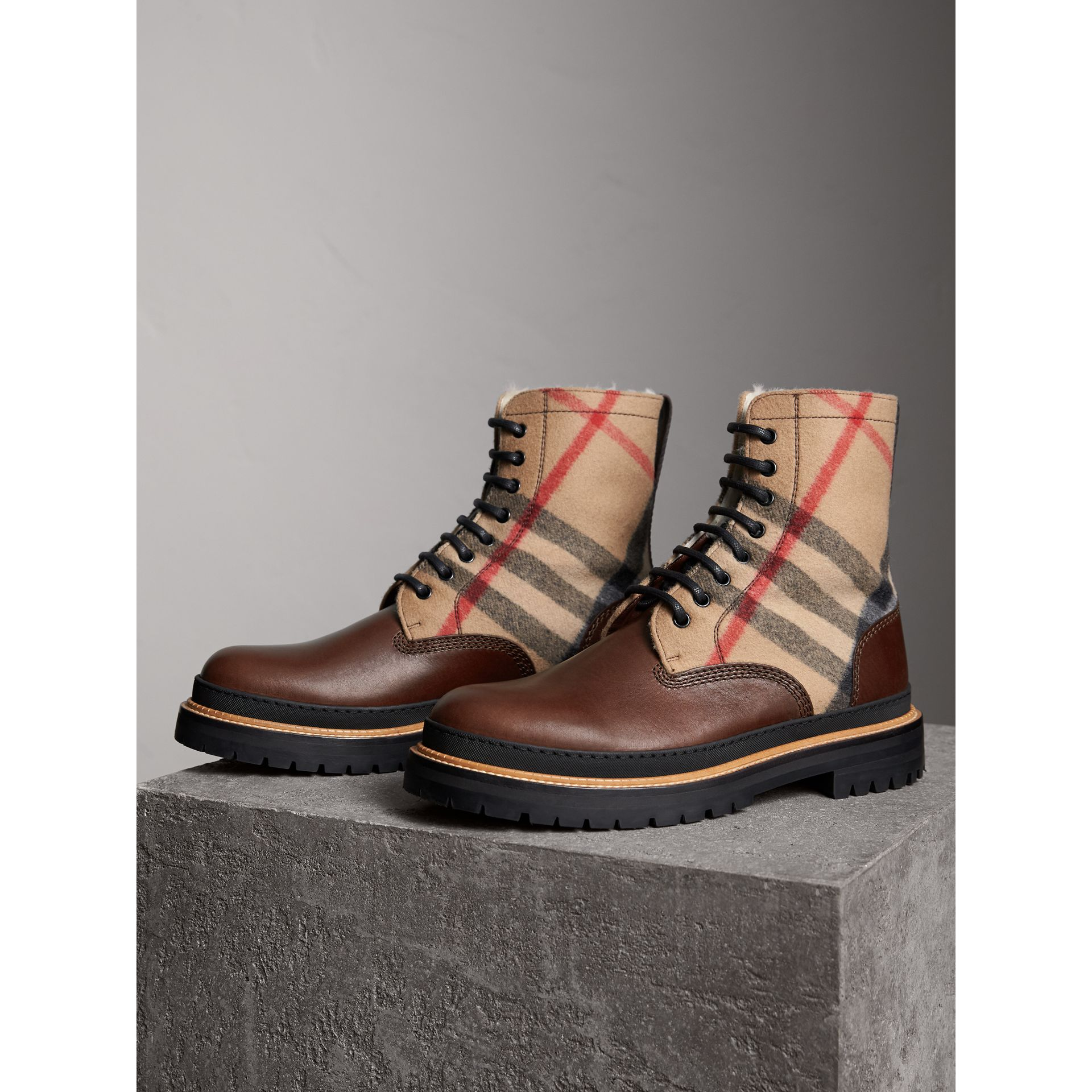 Shearling-lined Leather and Check Boots in Mid Camel - Men | Burberry Singapore - gallery image 4