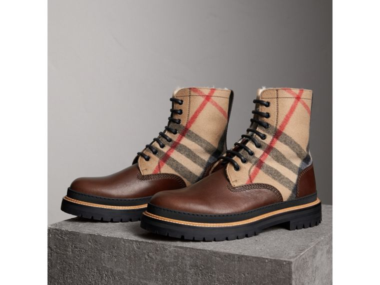Shearling-lined Leather and Check Boots in Mid Camel - Men | Burberry Singapore - cell image 4