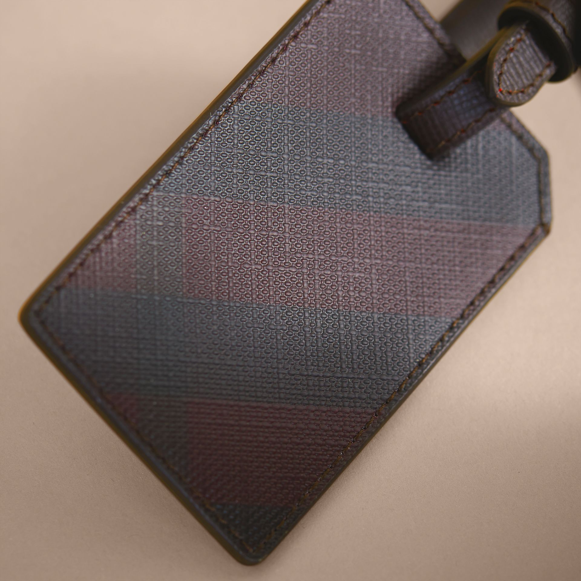 London Check Luggage Tag in Deep Claret - Men | Burberry - gallery image 2