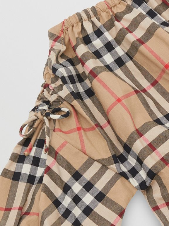 Gathered Sleeve Vintage Check Cotton Dress in Archive Beige - Children | Burberry - cell image 1