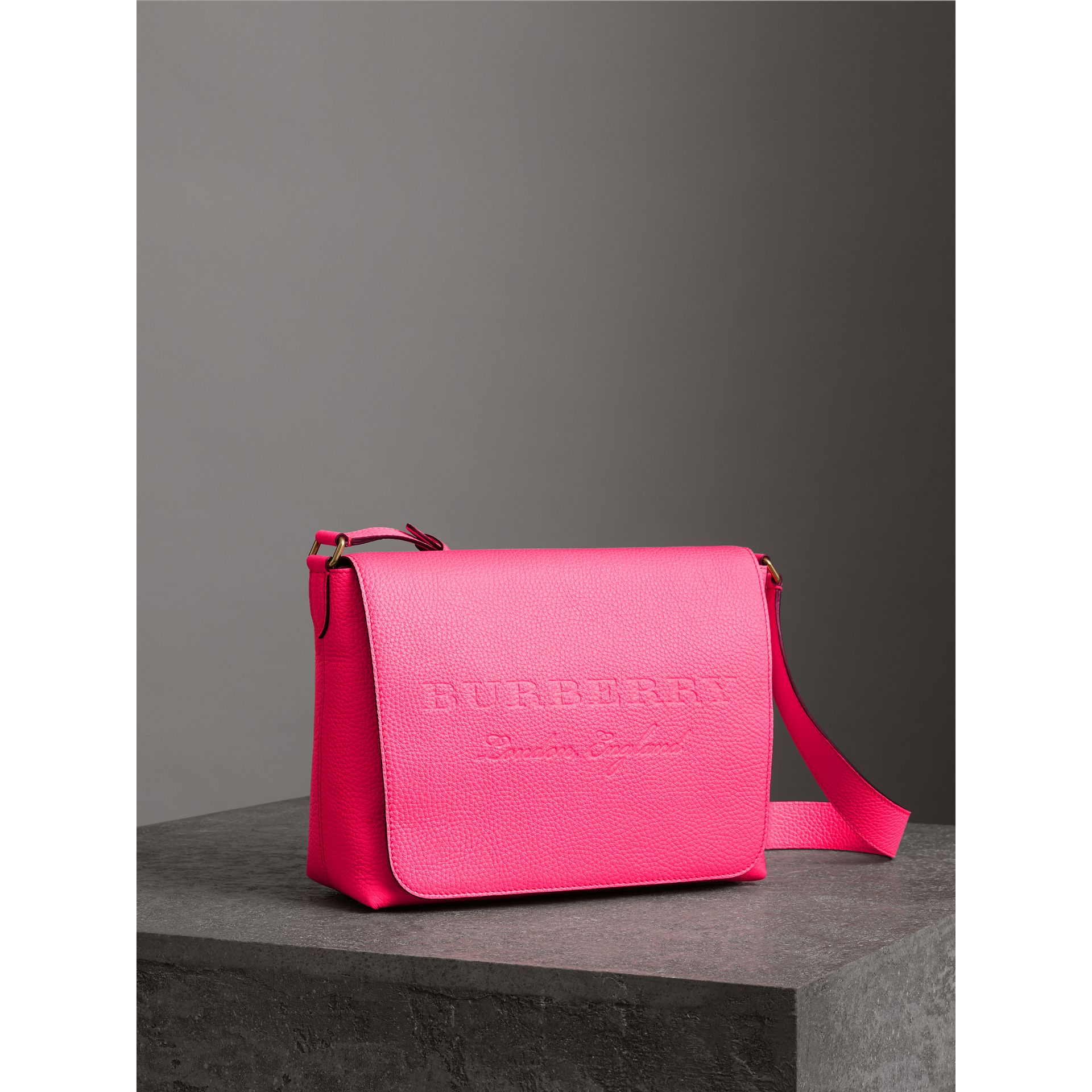 Medium Embossed Leather Messenger Bag in Neon Pink | Burberry - gallery image 8