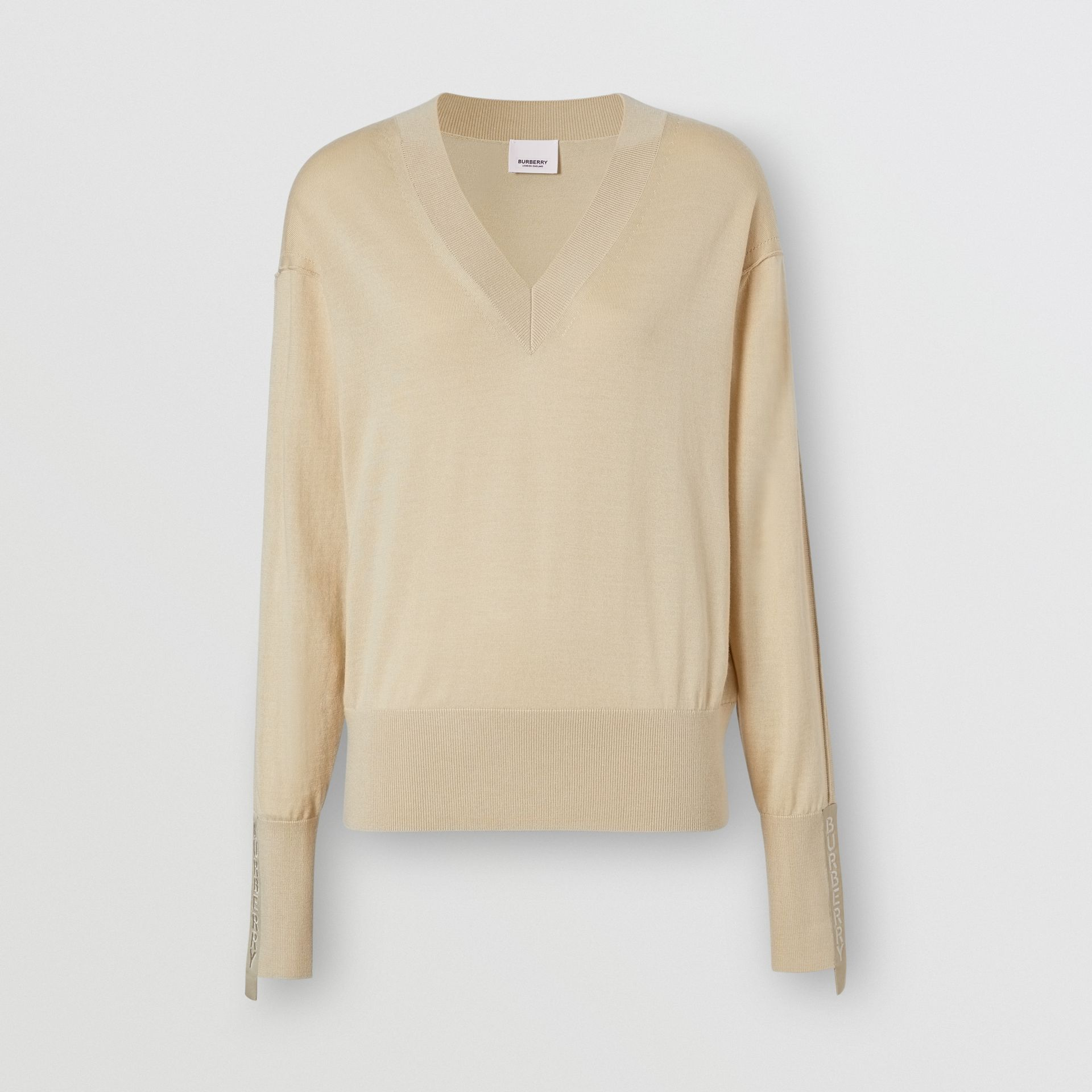 Logo Detail Merino Wool Silk Sweater in Pale Ochre - Women | Burberry - gallery image 3