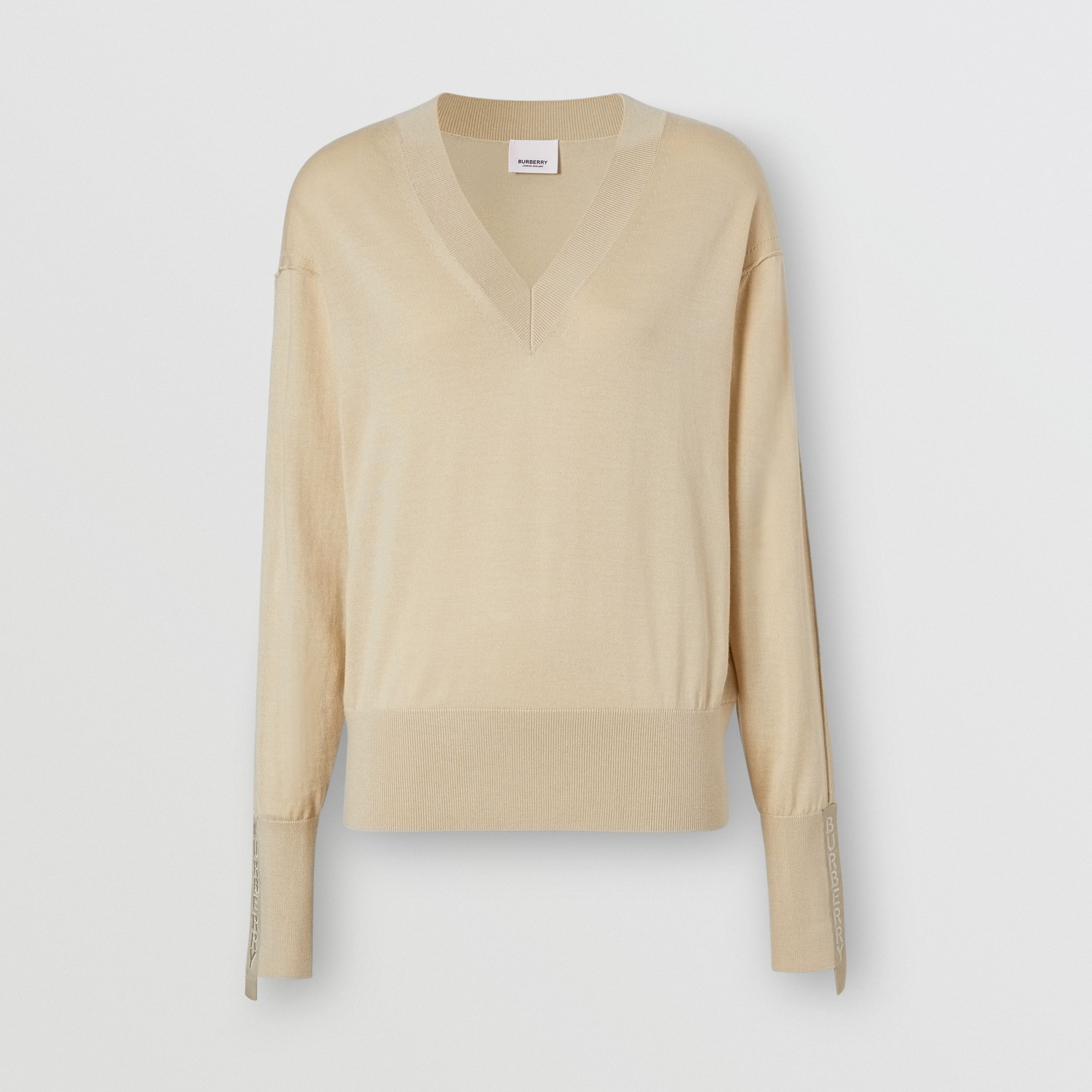Logo Detail Merino Wool Silk Sweater in Pale Ochre - Women | Burberry - 4