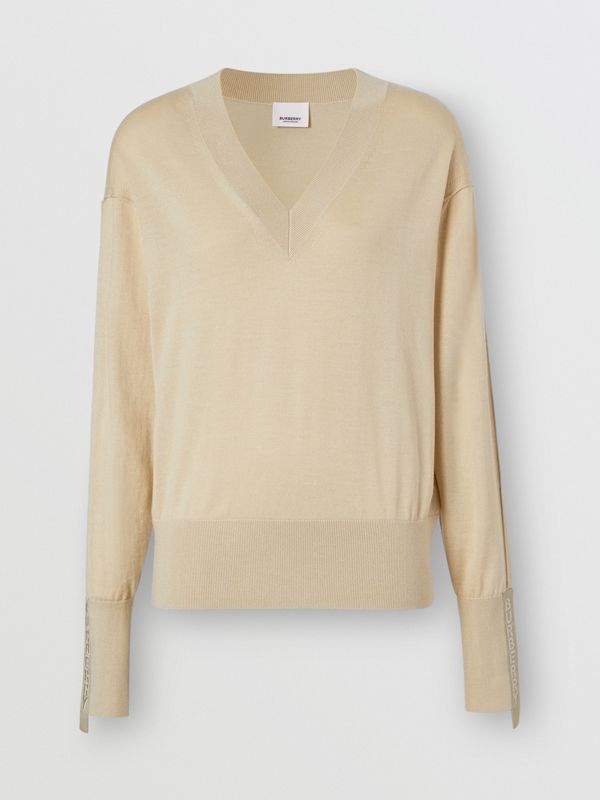 Logo Detail Merino Wool Silk Sweater in Pale Ochre - Women | Burberry - cell image 3