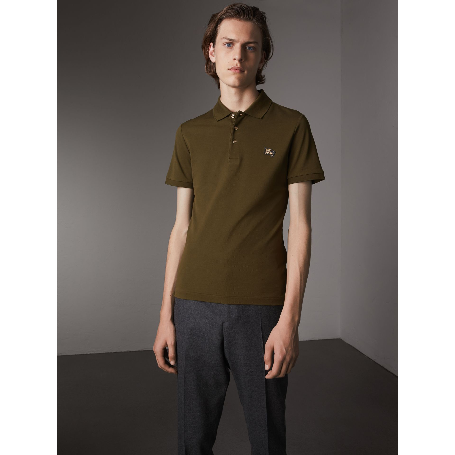 Cotton Piqué Polo Shirt in Dark Olive - Men | Burberry - gallery image 1