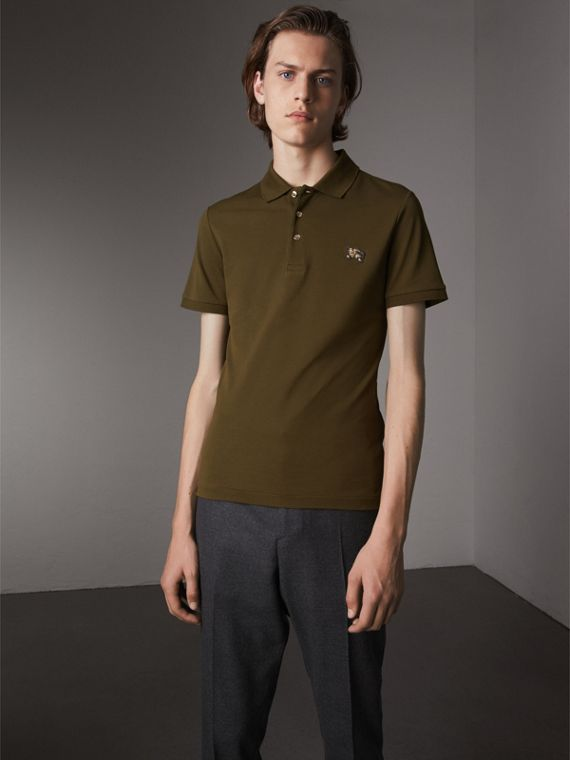 Cotton Piqué Polo Shirt in Dark Olive - Men | Burberry Canada