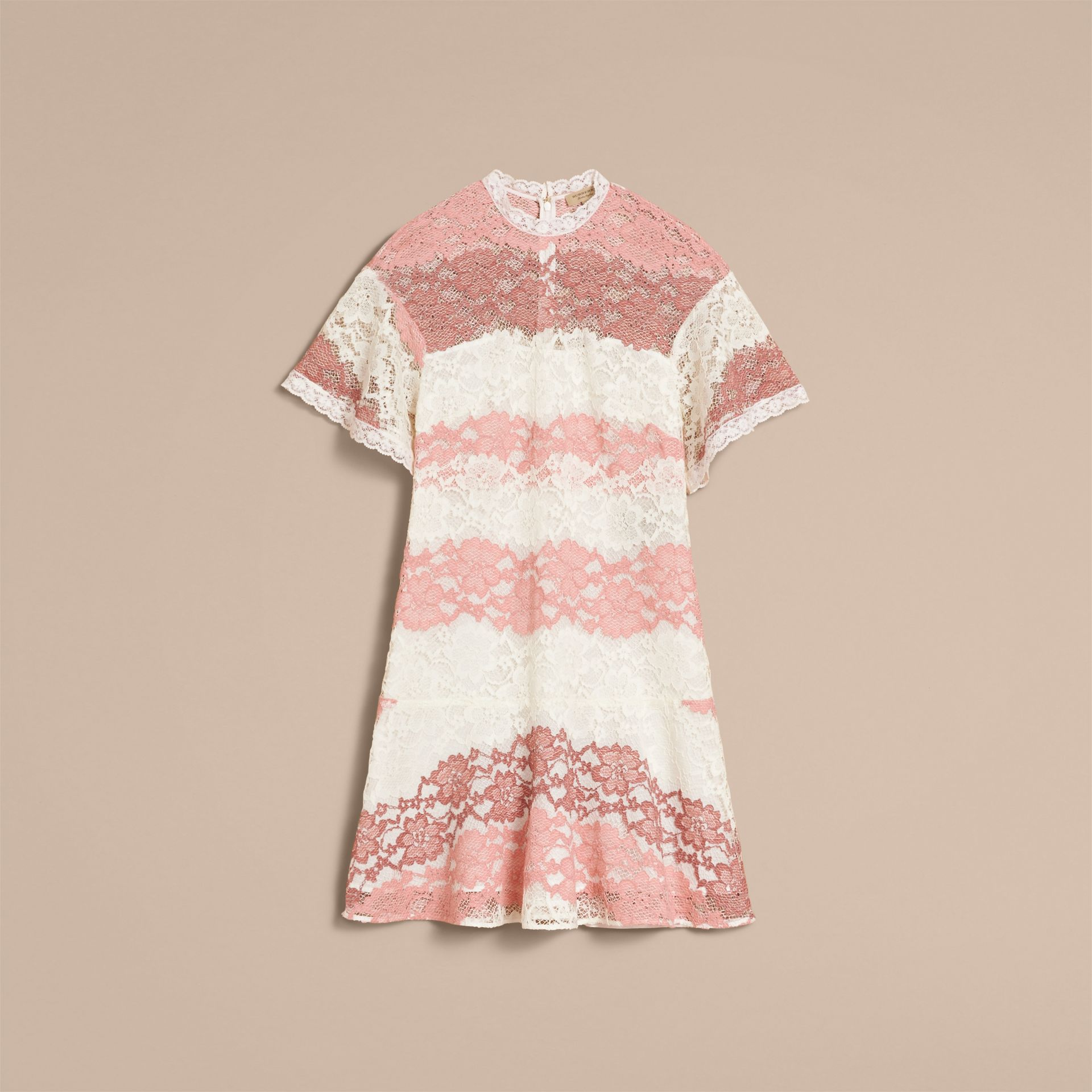 Floral Lace Dress with Flutter Sleeves in Dusty Pink - Women | Burberry - gallery image 4