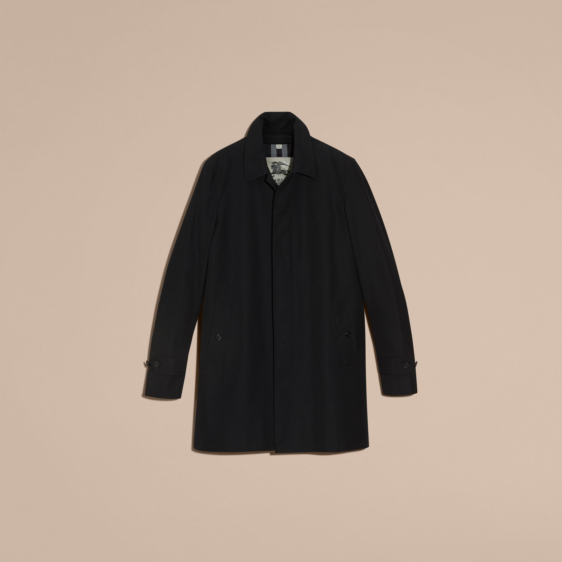 Black Cotton Gabardine Car Coat Black - gallery image 4