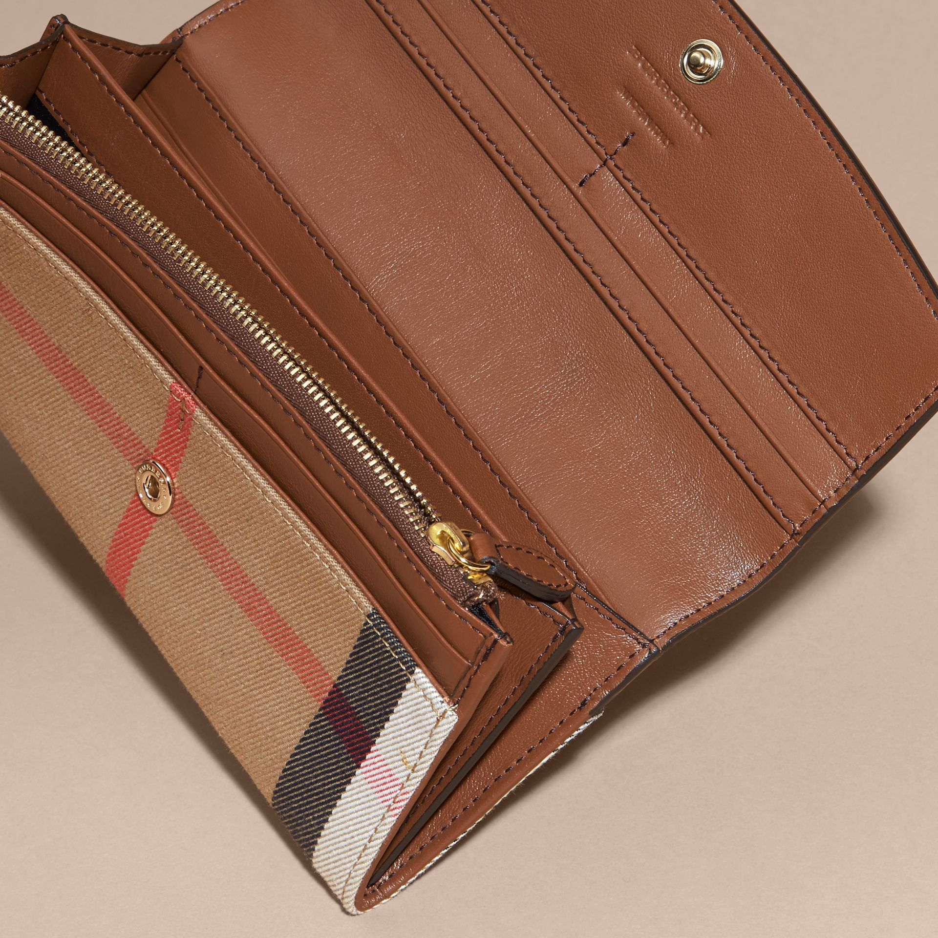 House Check And Leather Continental Wallet Tan - gallery image 5