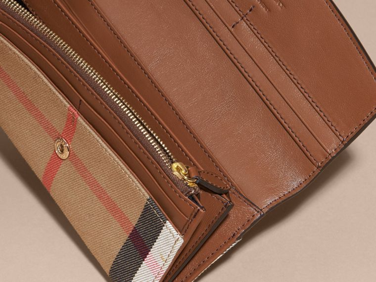 Tan House Check And Leather Continental Wallet Tan - cell image 4