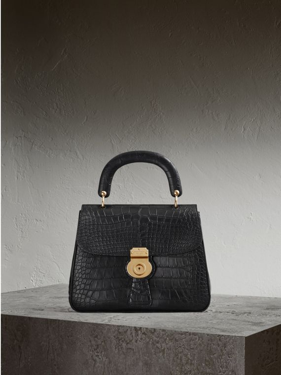 The Medium DK88 Top Handle Bag in Alligator Black