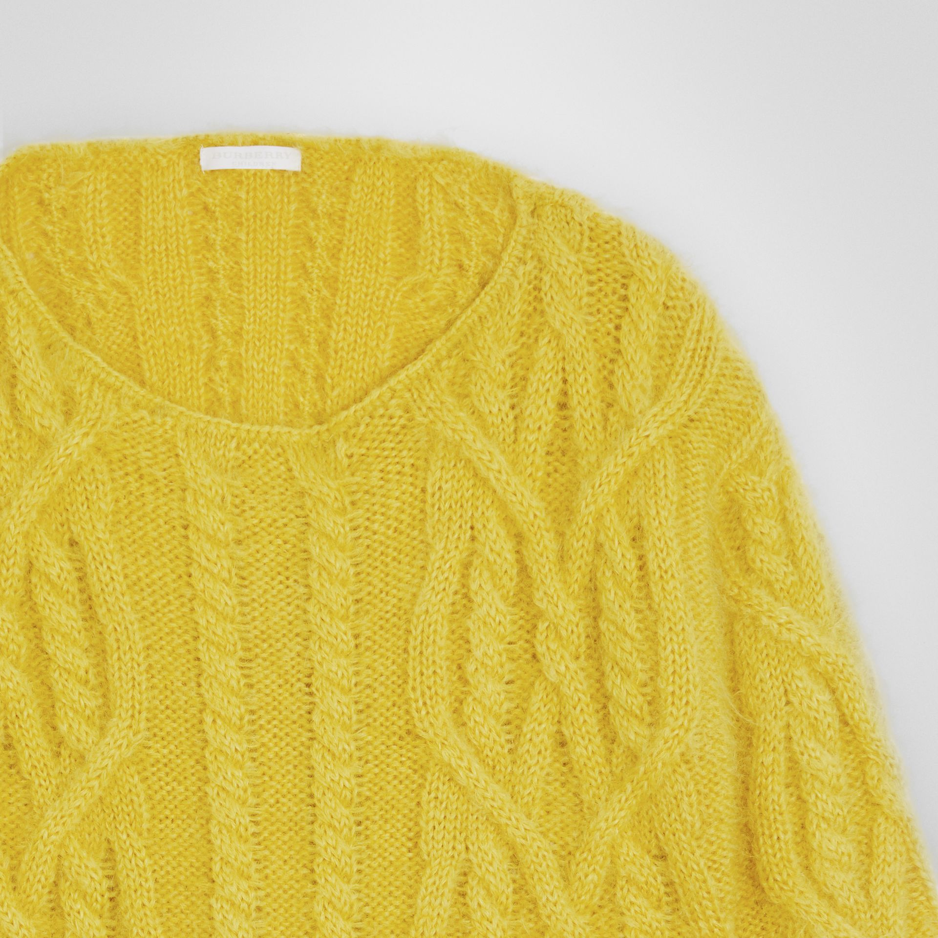 Cable Knit Mohair Wool Sweater in Bright Yellow | Burberry Canada - gallery image 4