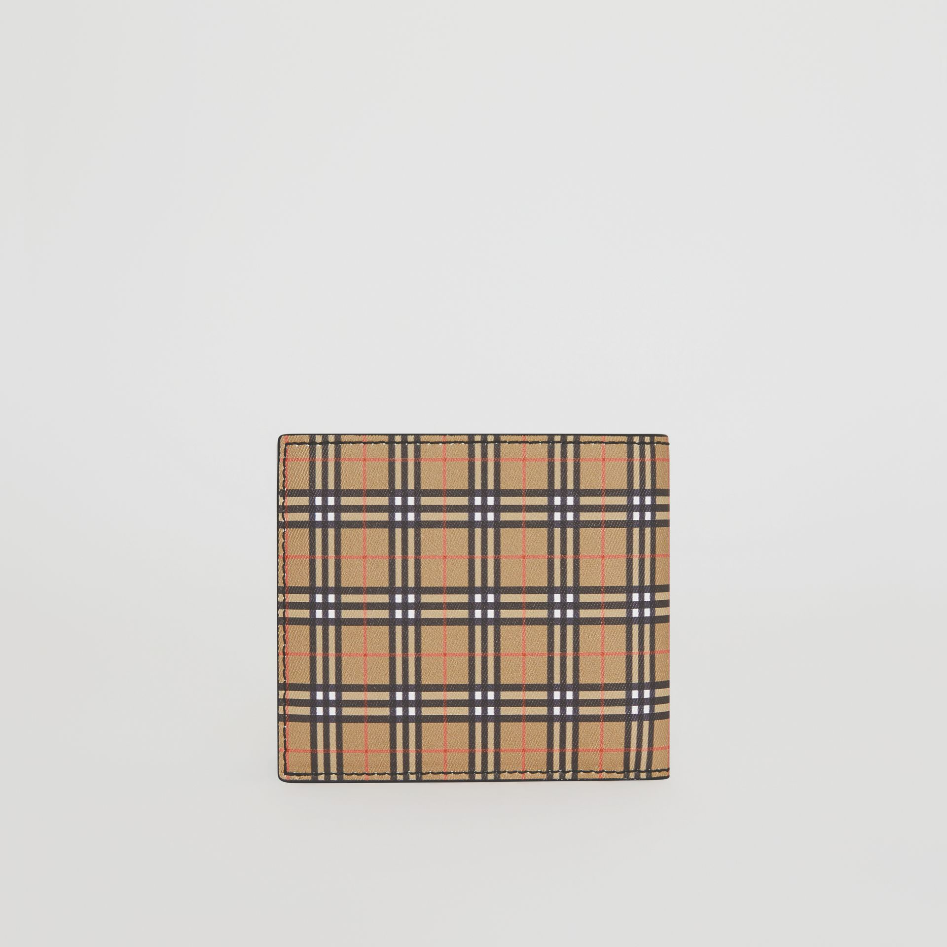 Small Scale Check and Leather ID Wallet in Antique Yellow/black - Men | Burberry - gallery image 4
