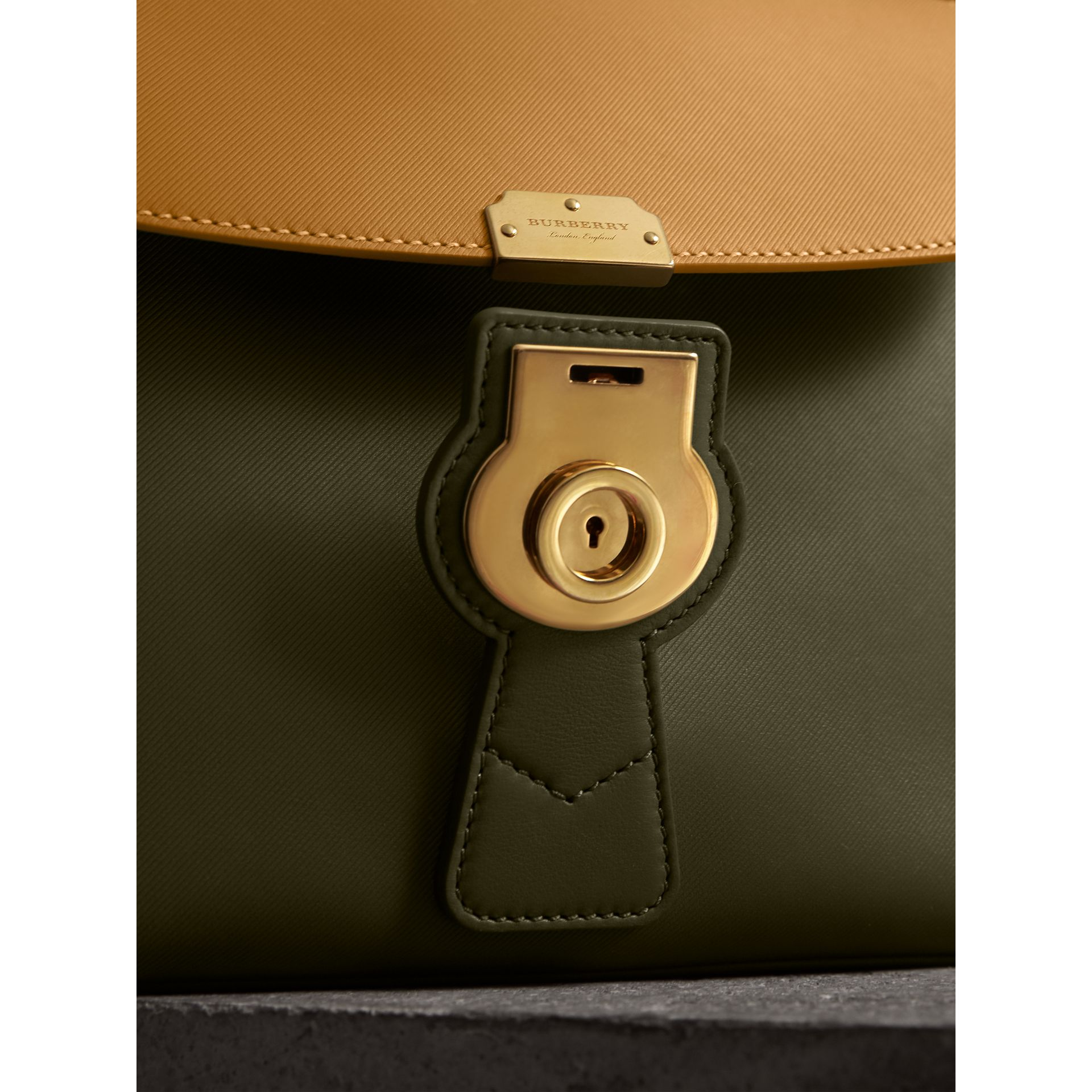 The Medium DK88 Top Handle Bag in Moss Green/ochre Yellow - Women | Burberry Singapore - gallery image 1
