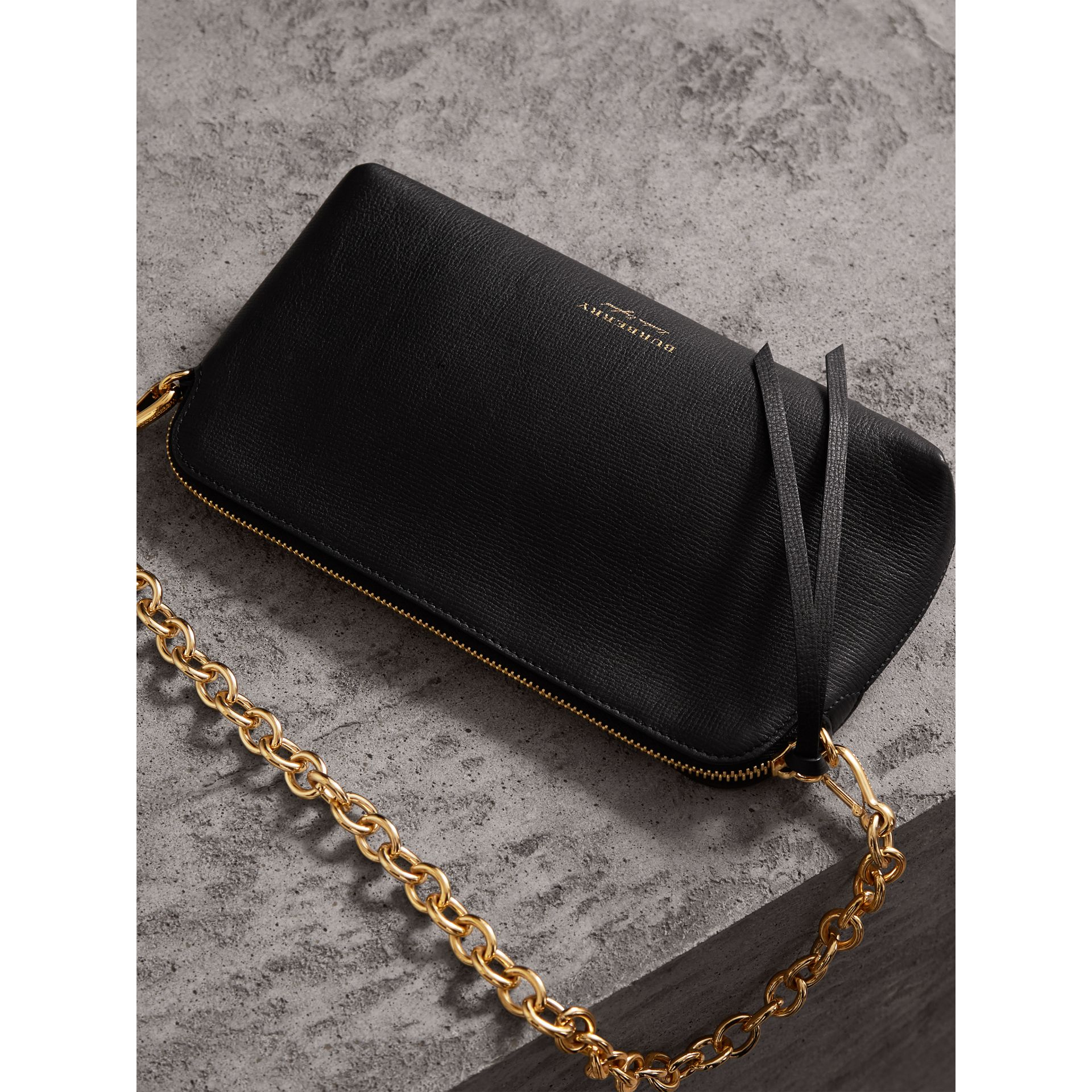 Grainy Leather Clutch Bag in Black - Women | Burberry Canada - gallery image 7