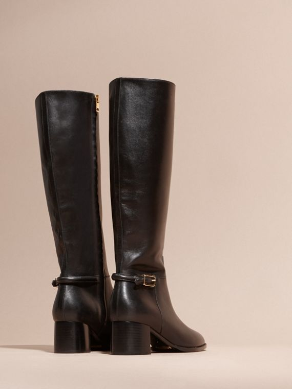 Black Knee-high Leather Boots - cell image 3