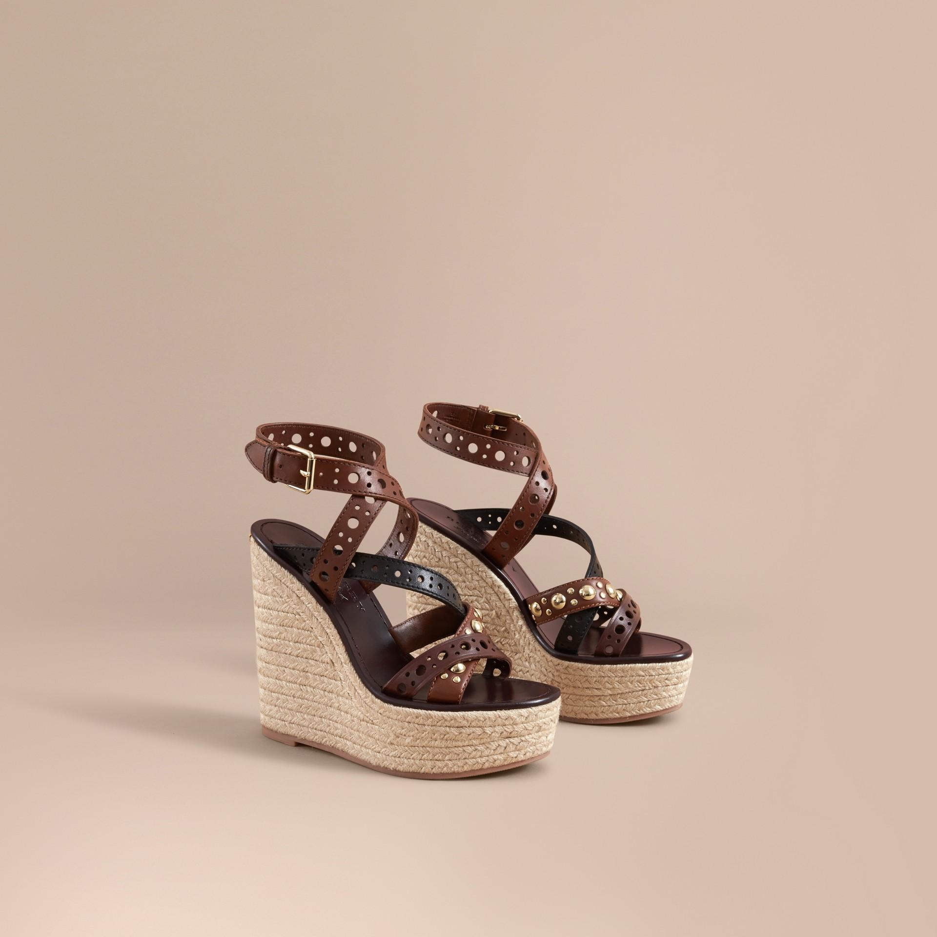 Riveted Leather Platform Espadrille Wedge Sandals - gallery image 1