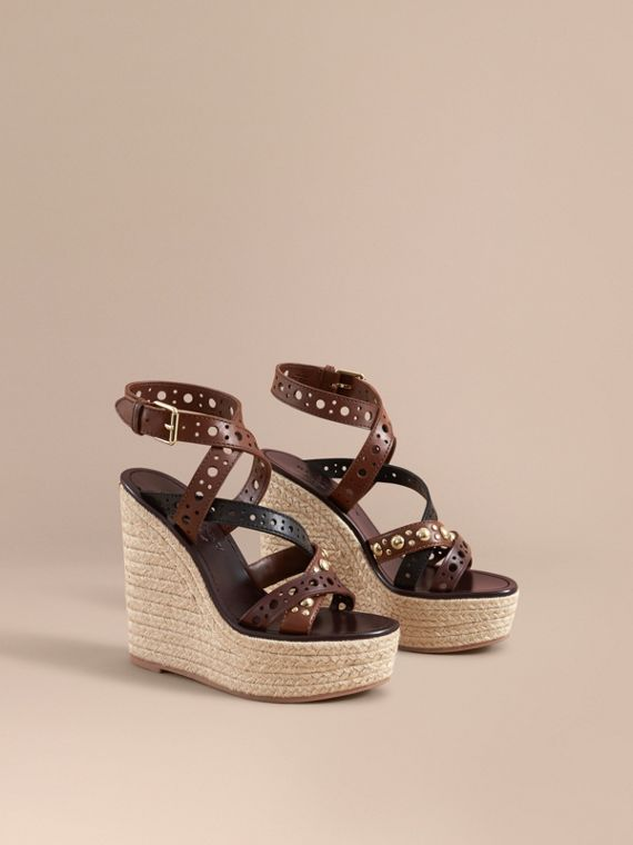 Riveted Leather Platform Espadrille Wedge Sandals