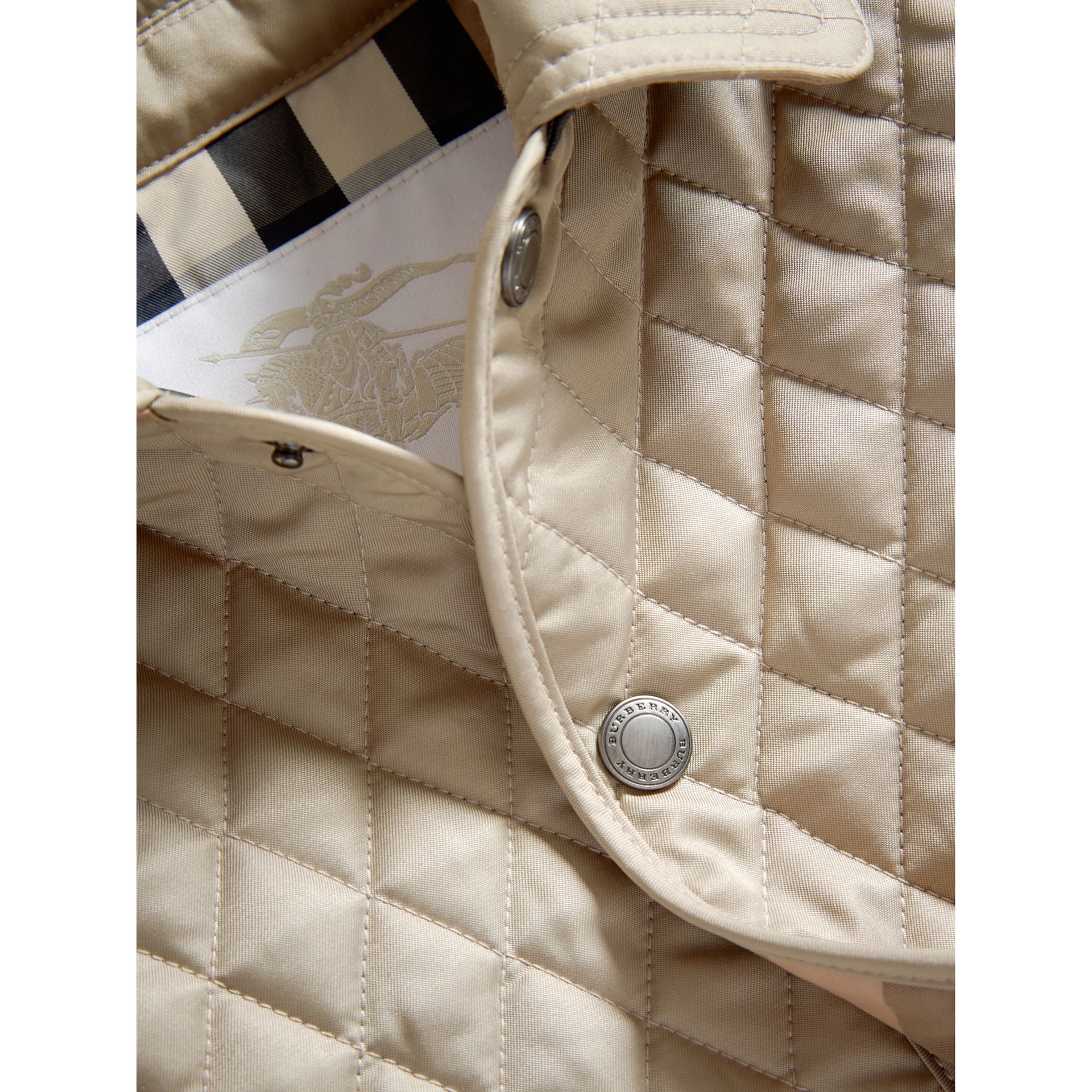 Check Detail Diamond Quilted Jacket in Mink | Burberry United Kingdom - gallery image 1