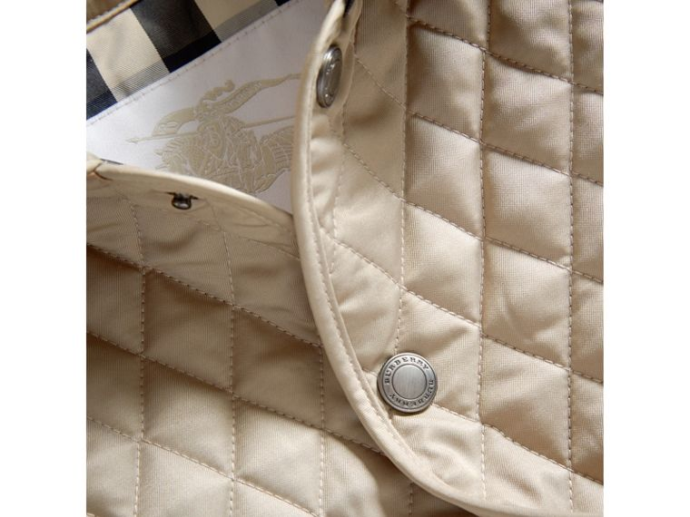 Check Detail Diamond Quilted Jacket in Mink | Burberry - cell image 1