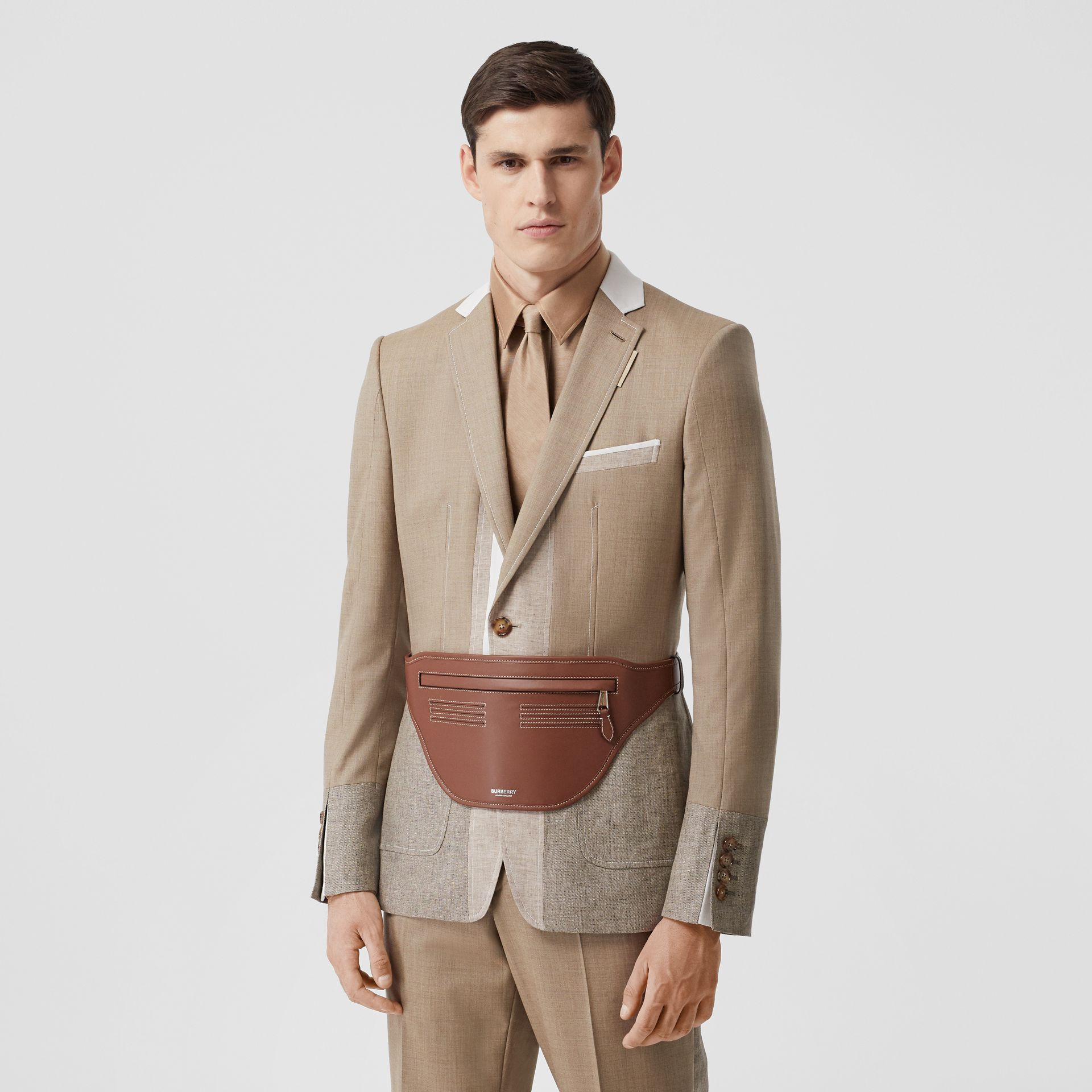 Topstitched Leather Brummell Bum Bag in Tan | Burberry - gallery image 3