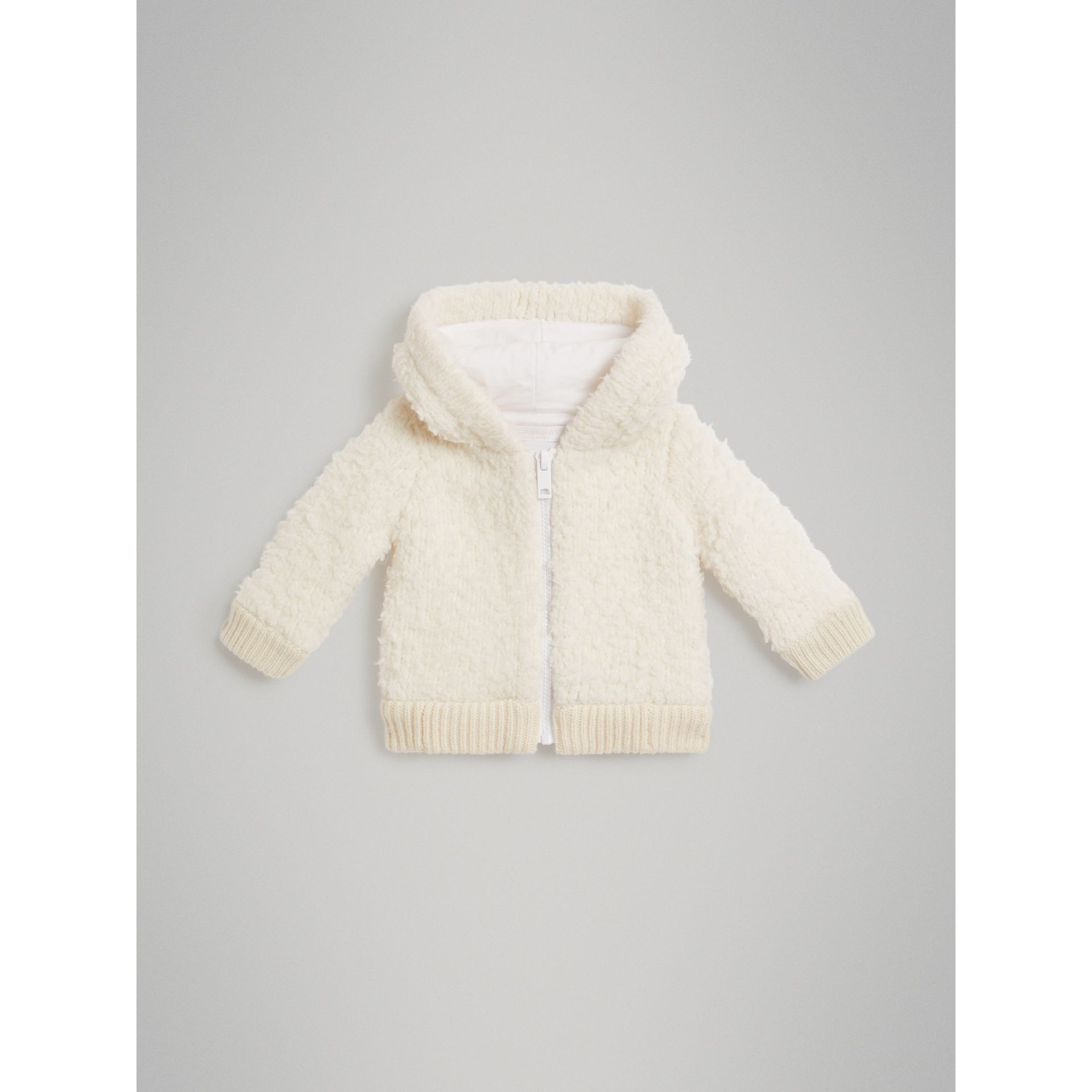 Wool Blend Hooded Top in Ivory - Children | Burberry - gallery image 0