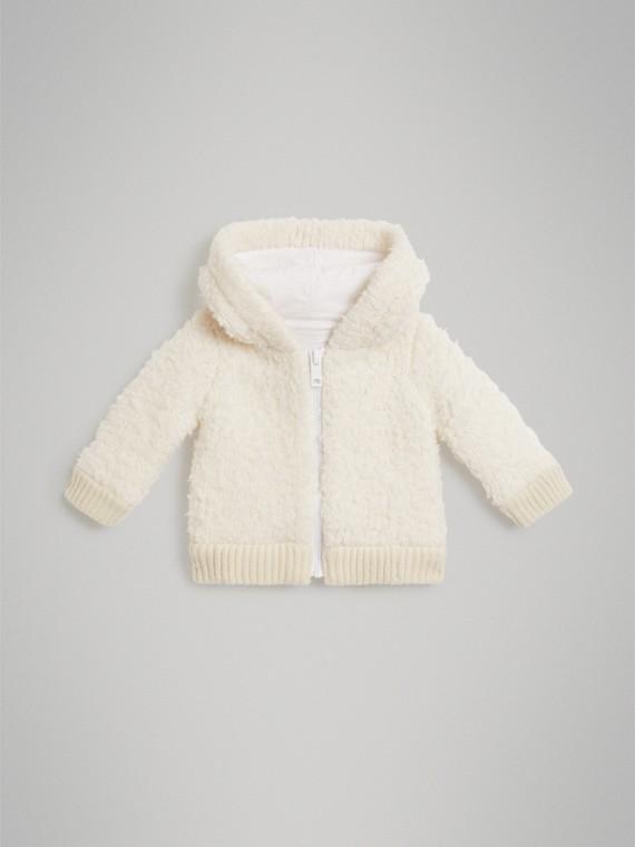Jaqueta de lã com capuz (Marfim)