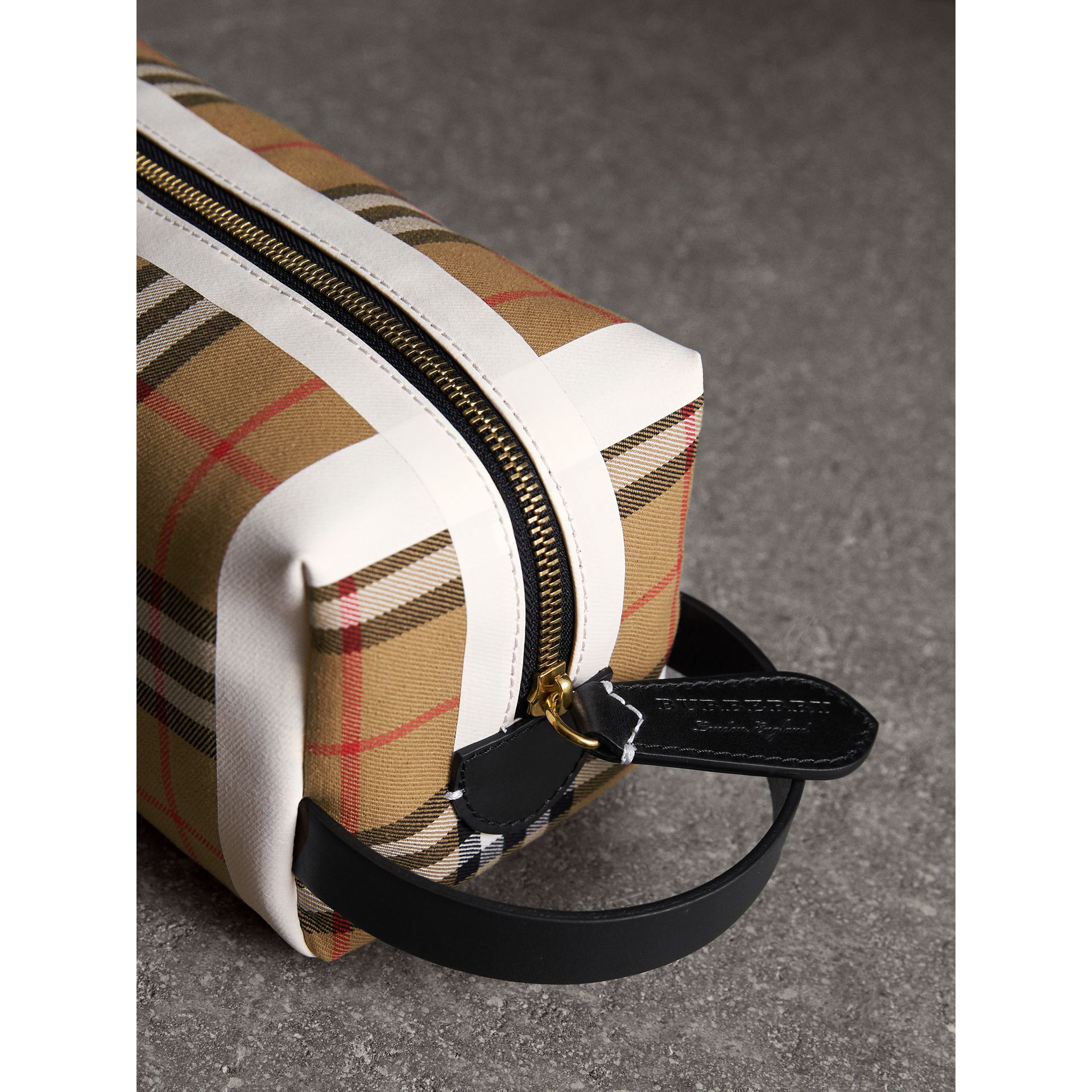 Vintage Check and Tartan Cotton Pouch in Antique Yellow/ochre Yellow | Burberry - gallery image 1