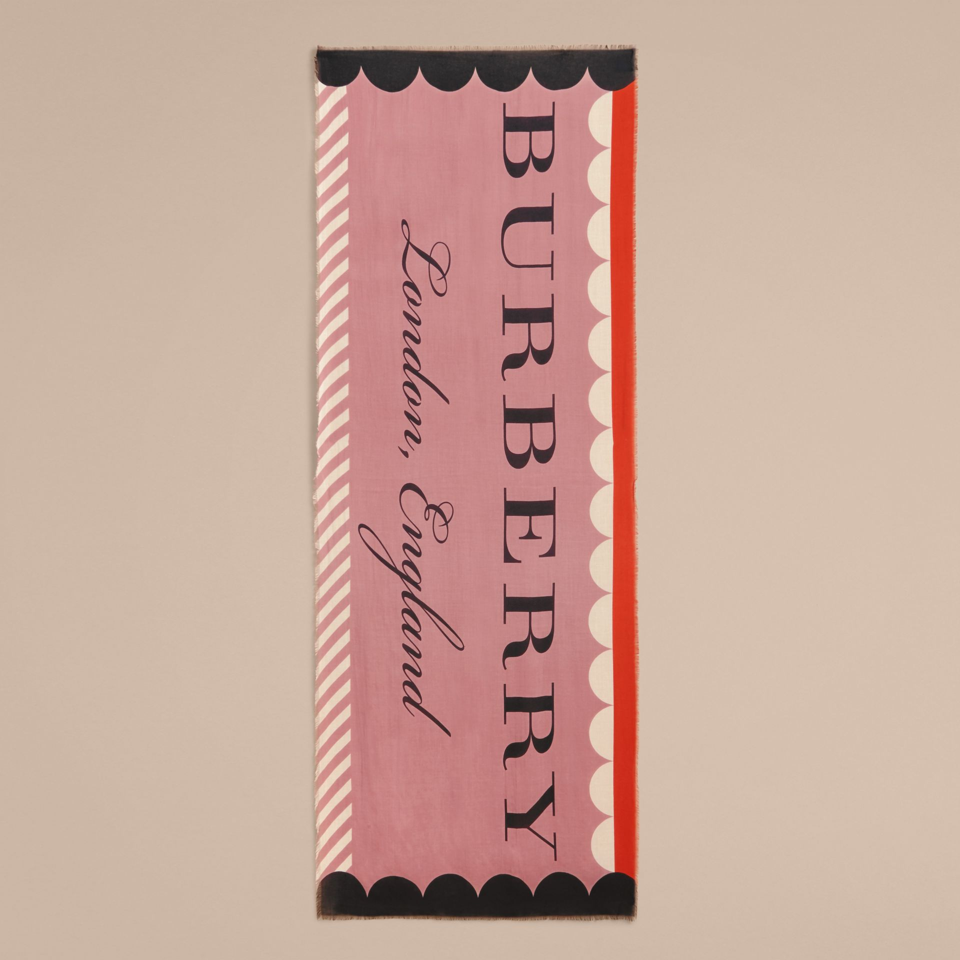 Scallop and Stripe Print Modal Wool Scarf in Dusty Pink - Women | Burberry - gallery image 5