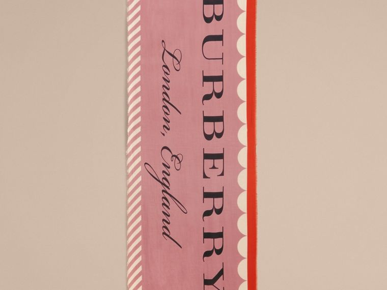 Scallop and Stripe Print Modal Wool Scarf in Dusty Pink - Women | Burberry - cell image 4