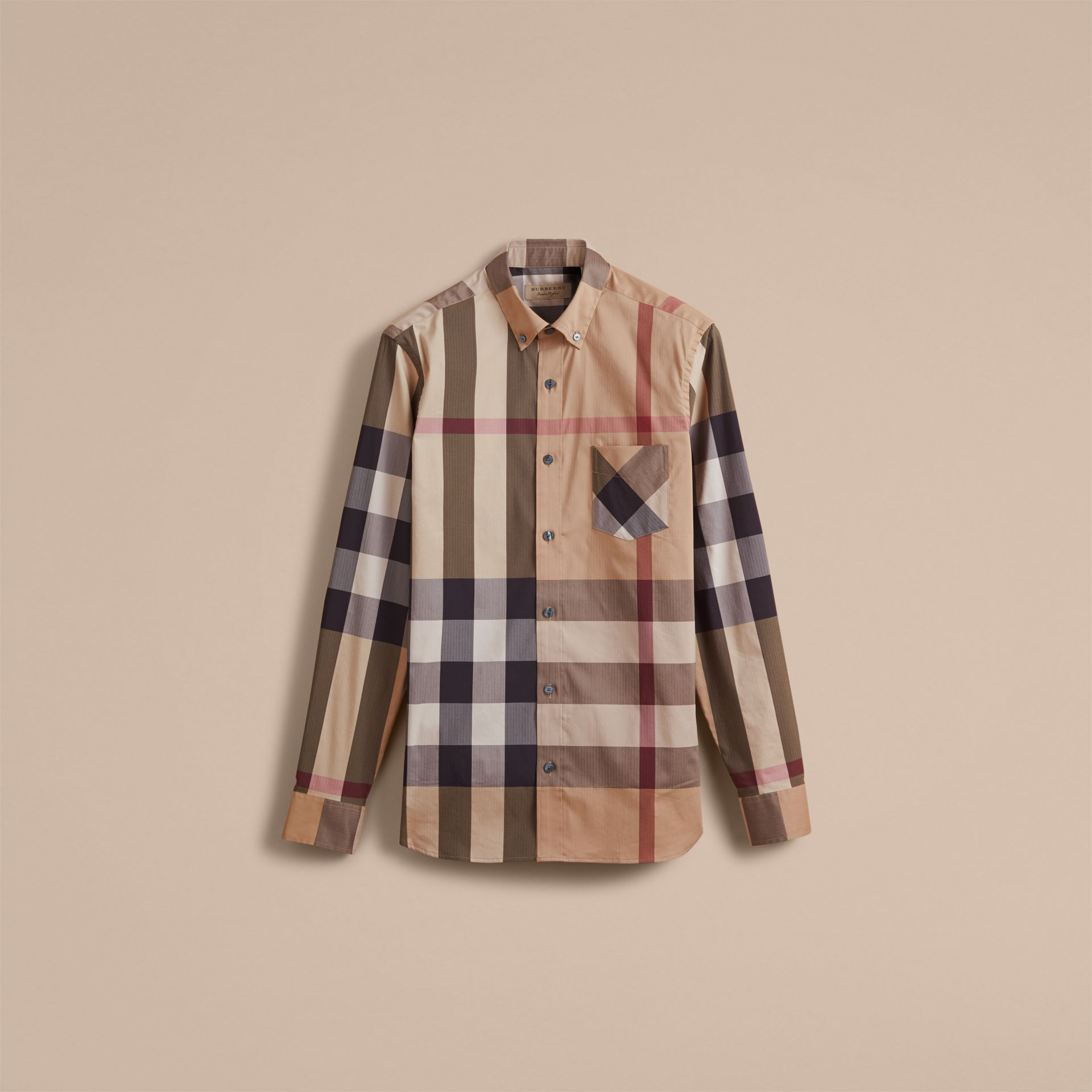 Button-down Collar Check Stretch Cotton Blend Shirt in Camel - Men | Burberry Canada - gallery image 3