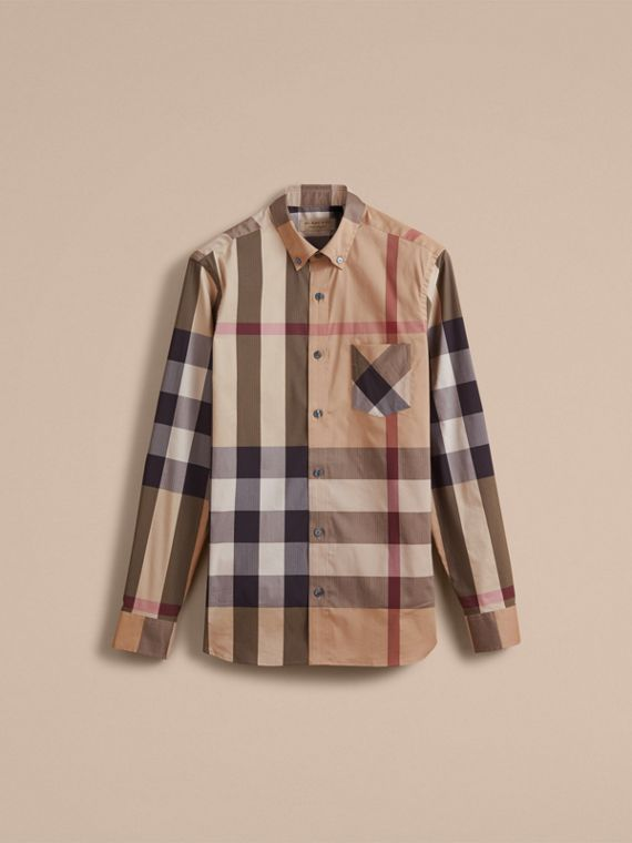 Button-down Collar Check Stretch Cotton Blend Shirt in Camel