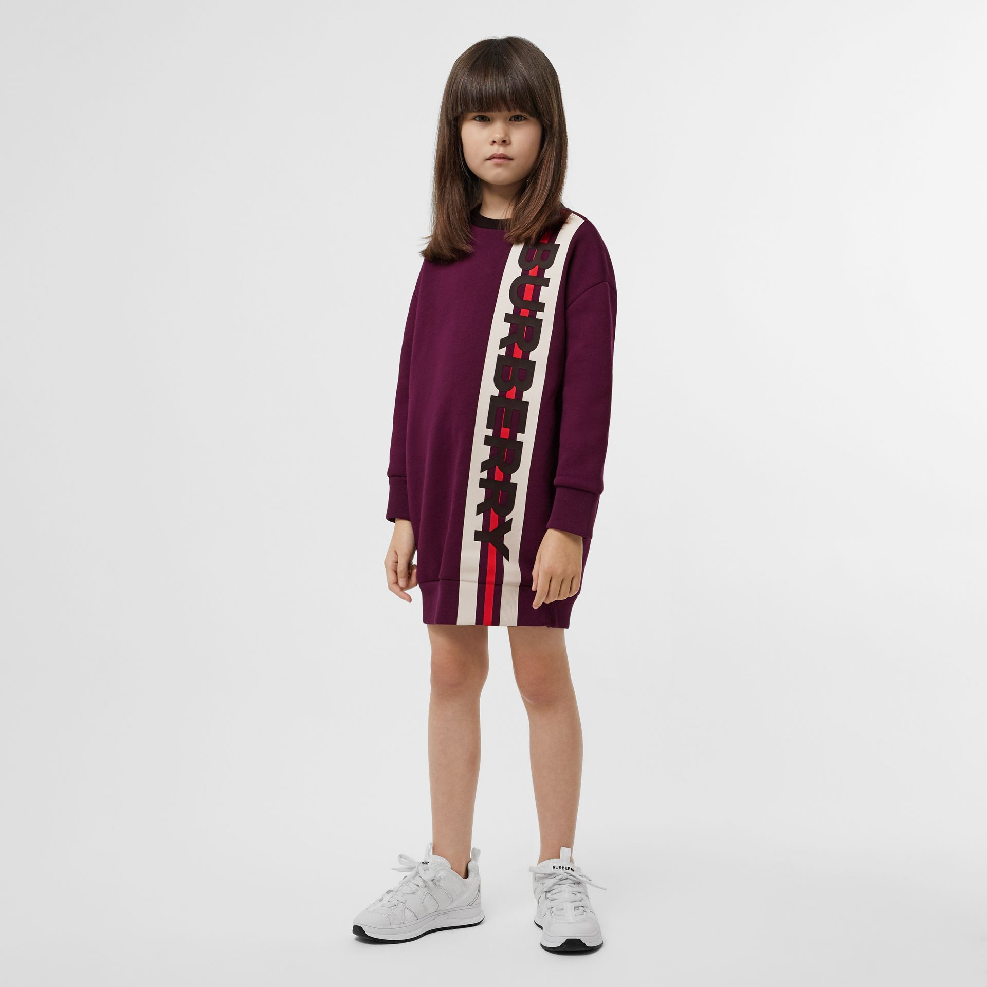 Logo Print Jersey Sweater Dress in Burgundy | Burberry United Kingdom - gallery image 2