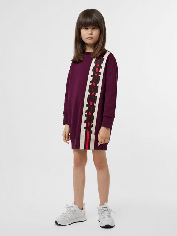 Logo Print Jersey Sweater Dress in Burgundy