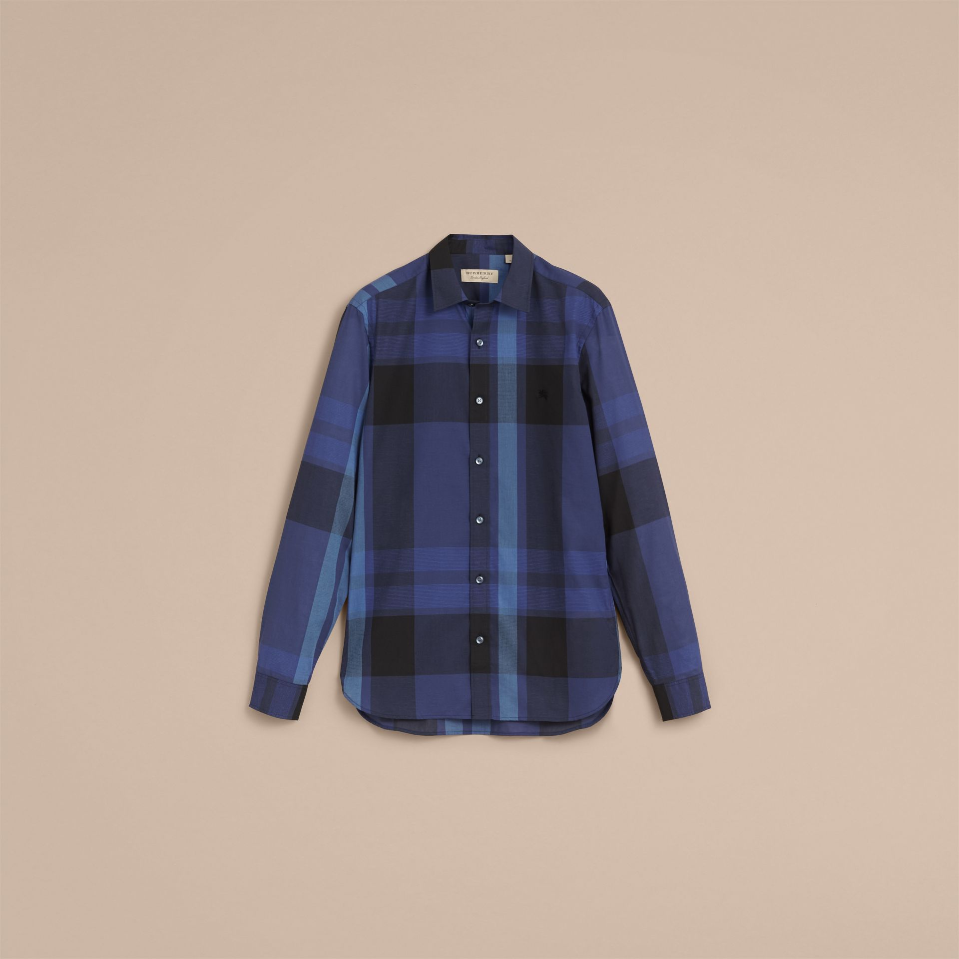 Check Cotton Linen Shirt in Bright Navy - Men | Burberry Canada - gallery image 4